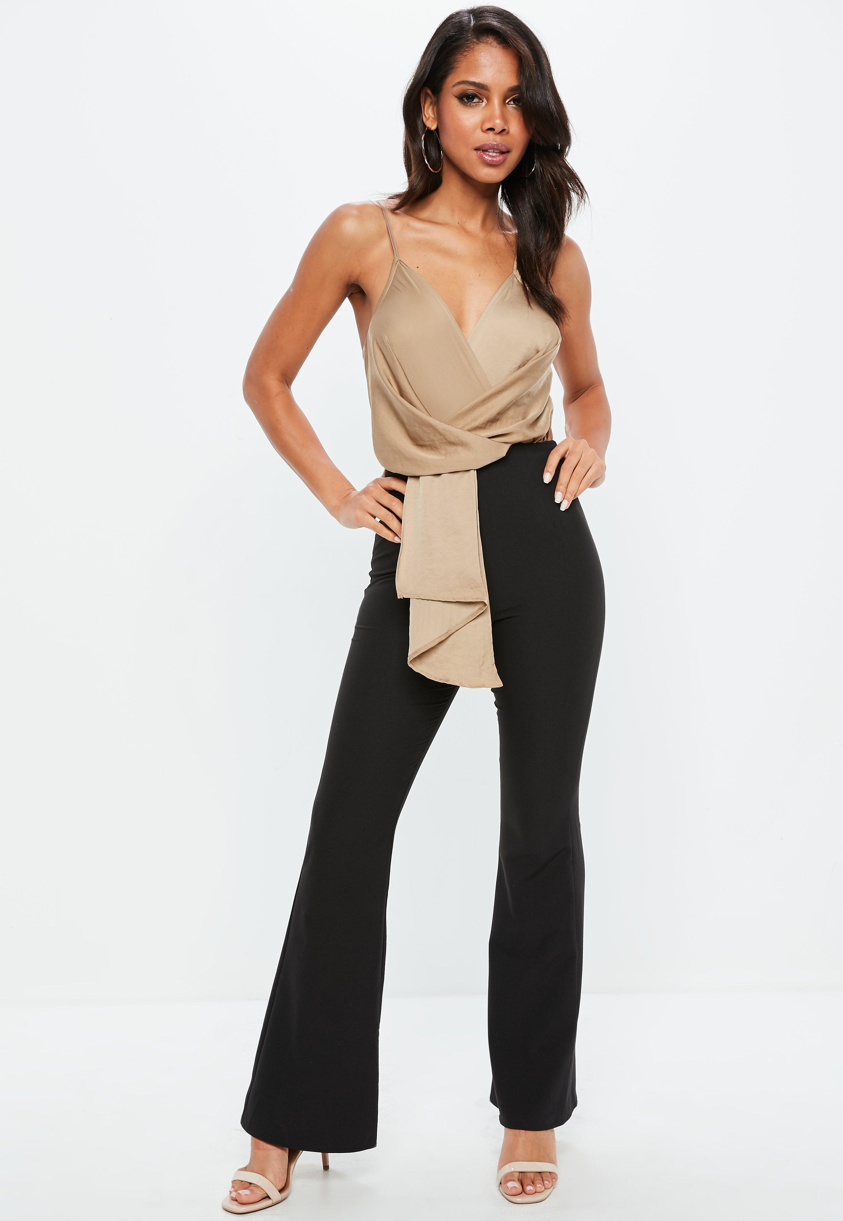 8d16c216ef9 Lyst - Missguided Black Wrap Front Colour Block Jumpsuit in Black