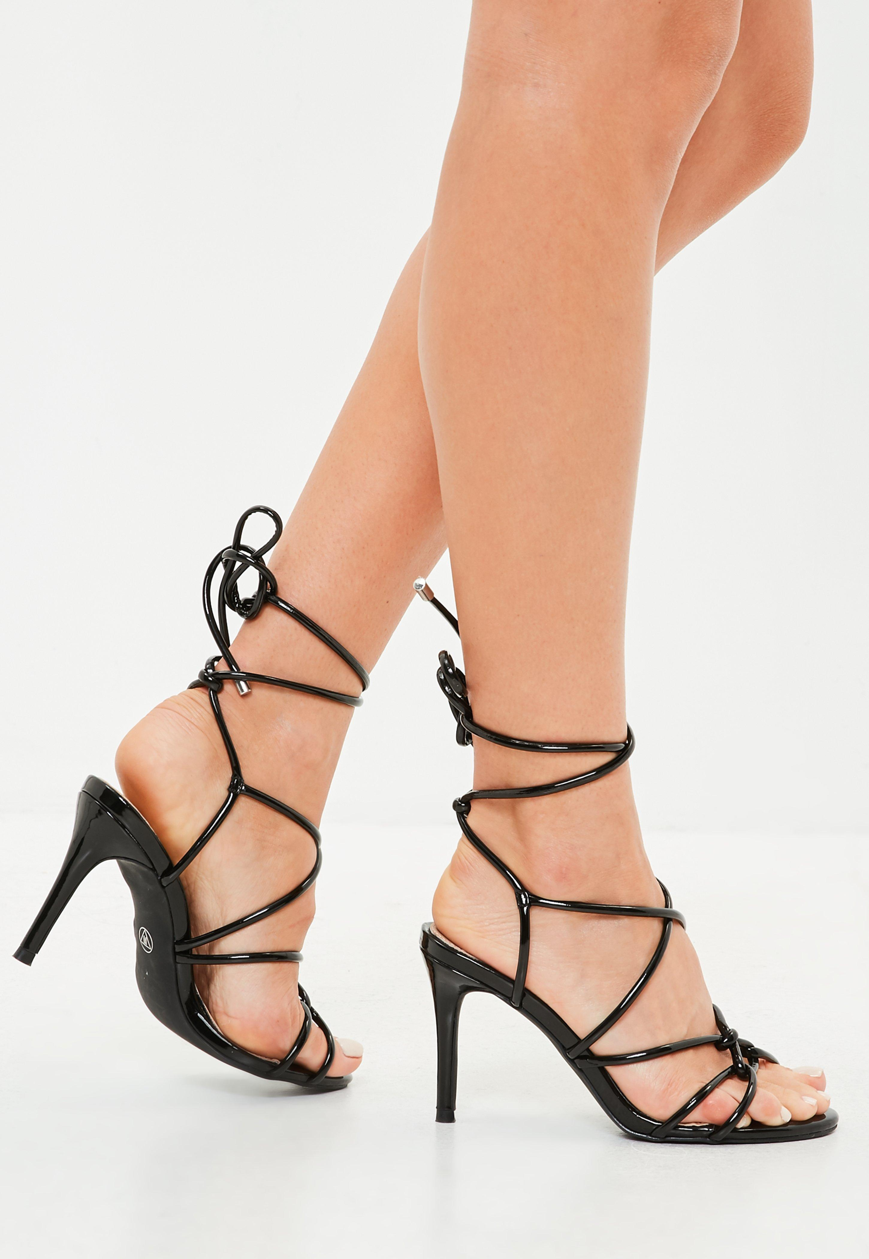 e90b4f00a357 Lyst - Missguided Black Multi Strap Gladiator Mid Heel Sandals in Black