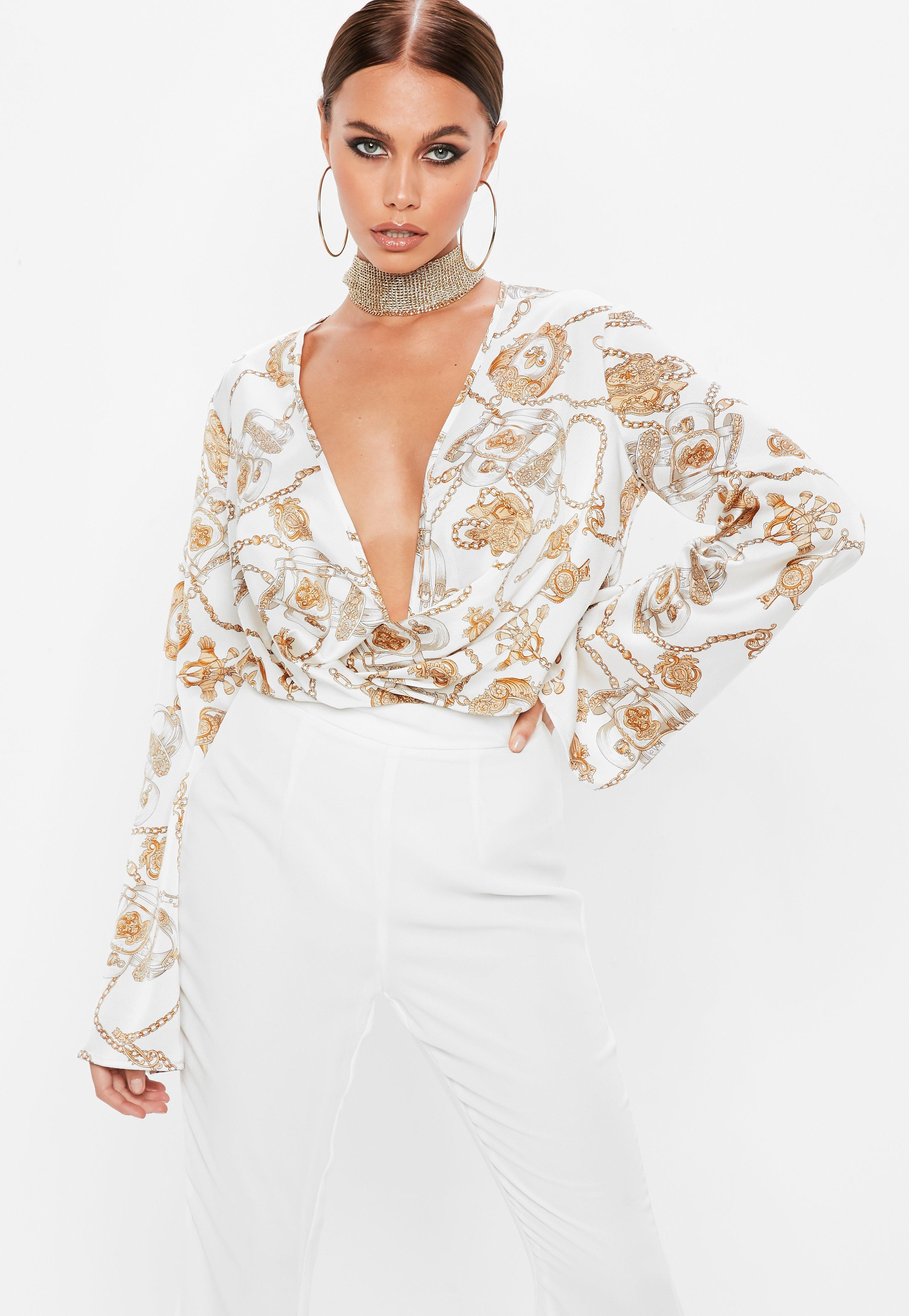 e76f936767cdb Lyst - Missguided White Plunge Flared Sleeve Chain Print Bodysuit in ...