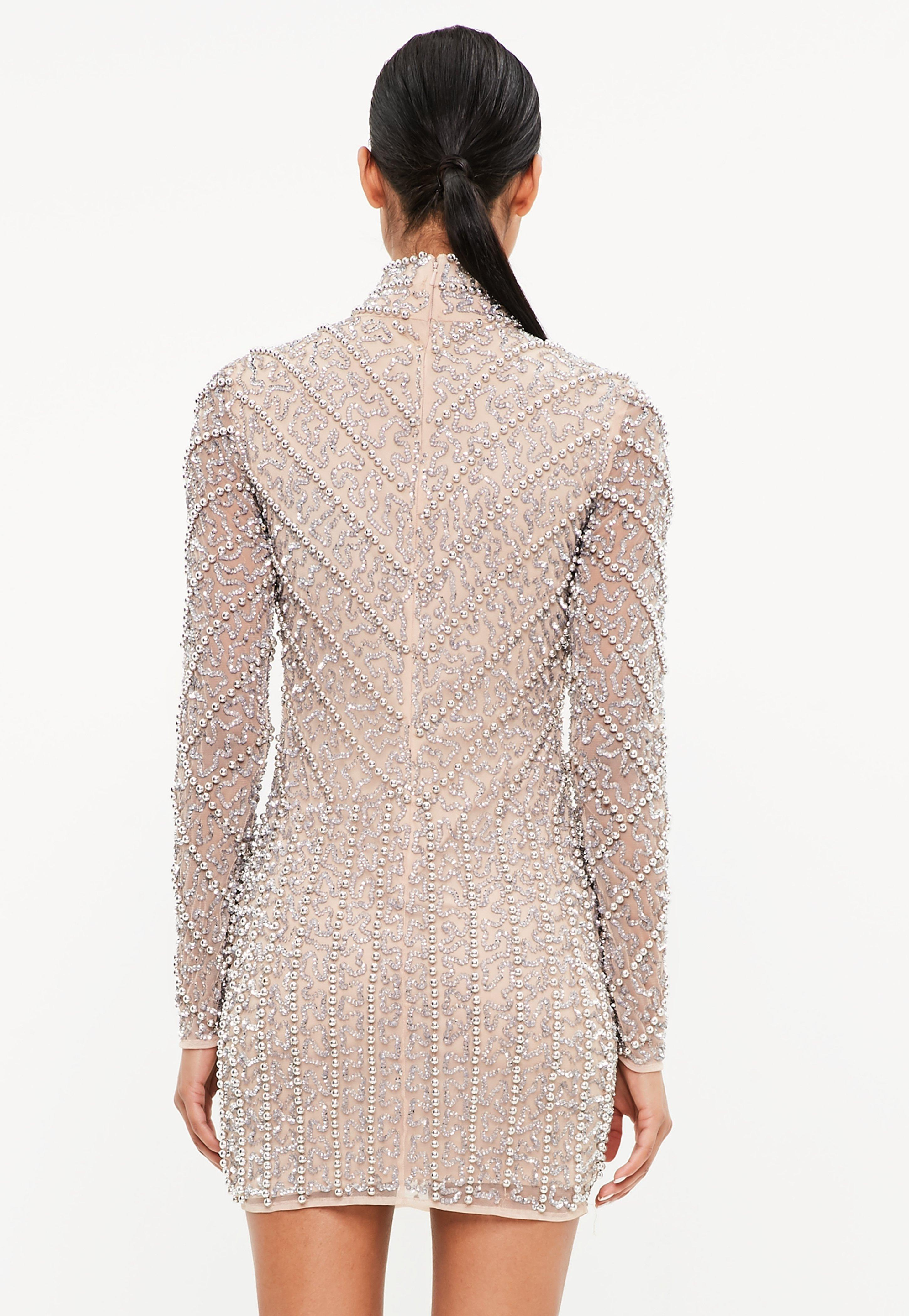 5eb04a115c Missguided - Metallic Peace + Love Silver High Neck Long Sleeve Beaded Mini  Dress - Lyst. View fullscreen