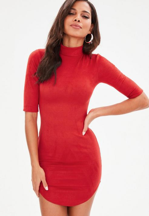 0f4f71c26c48 Missguided Red High Neck Faux Suede Mini Dress in Red - Lyst