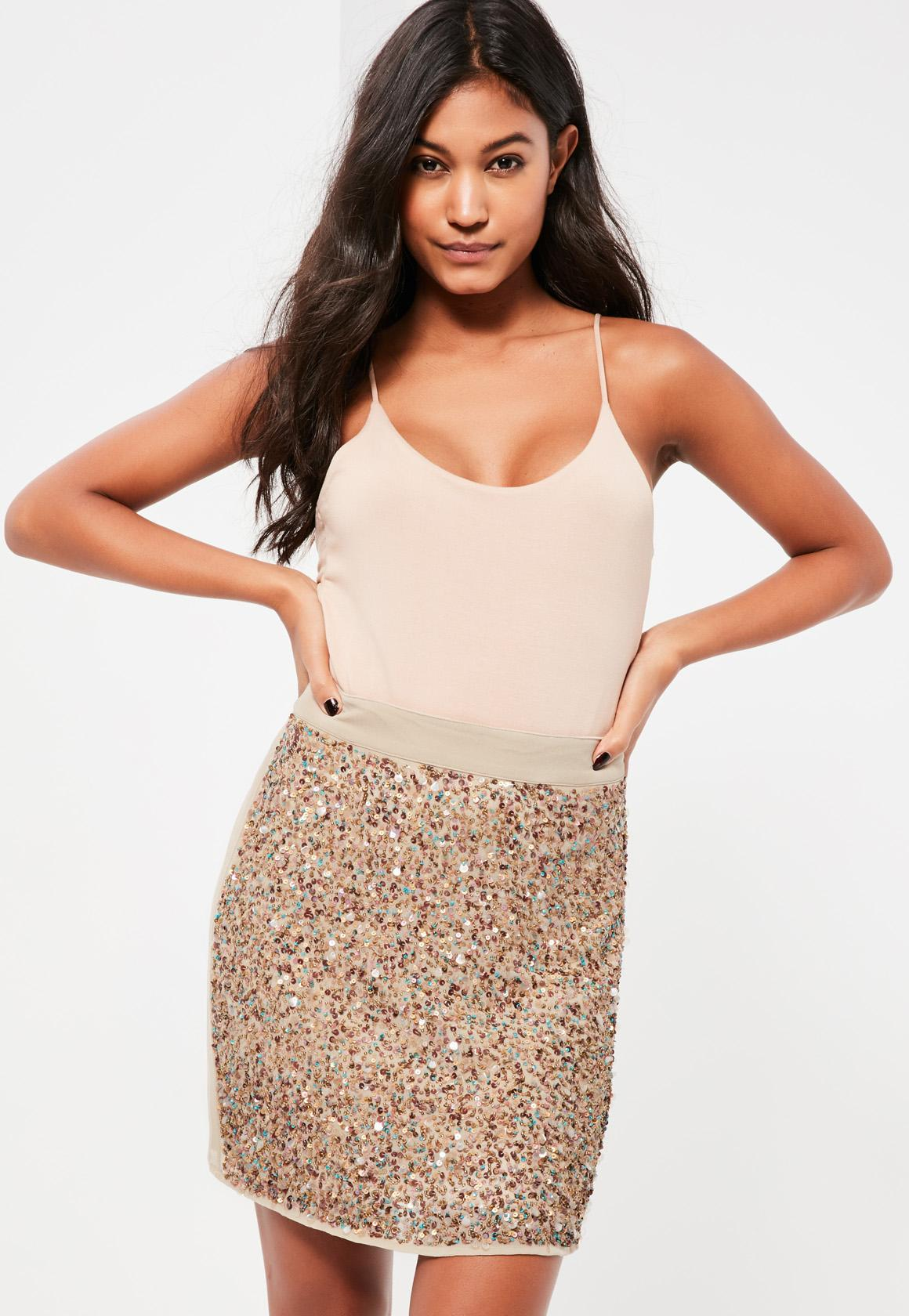 9c6d850eb8 Missguided Gold Multi Sequin Front Mini Skirt in Metallic - Lyst