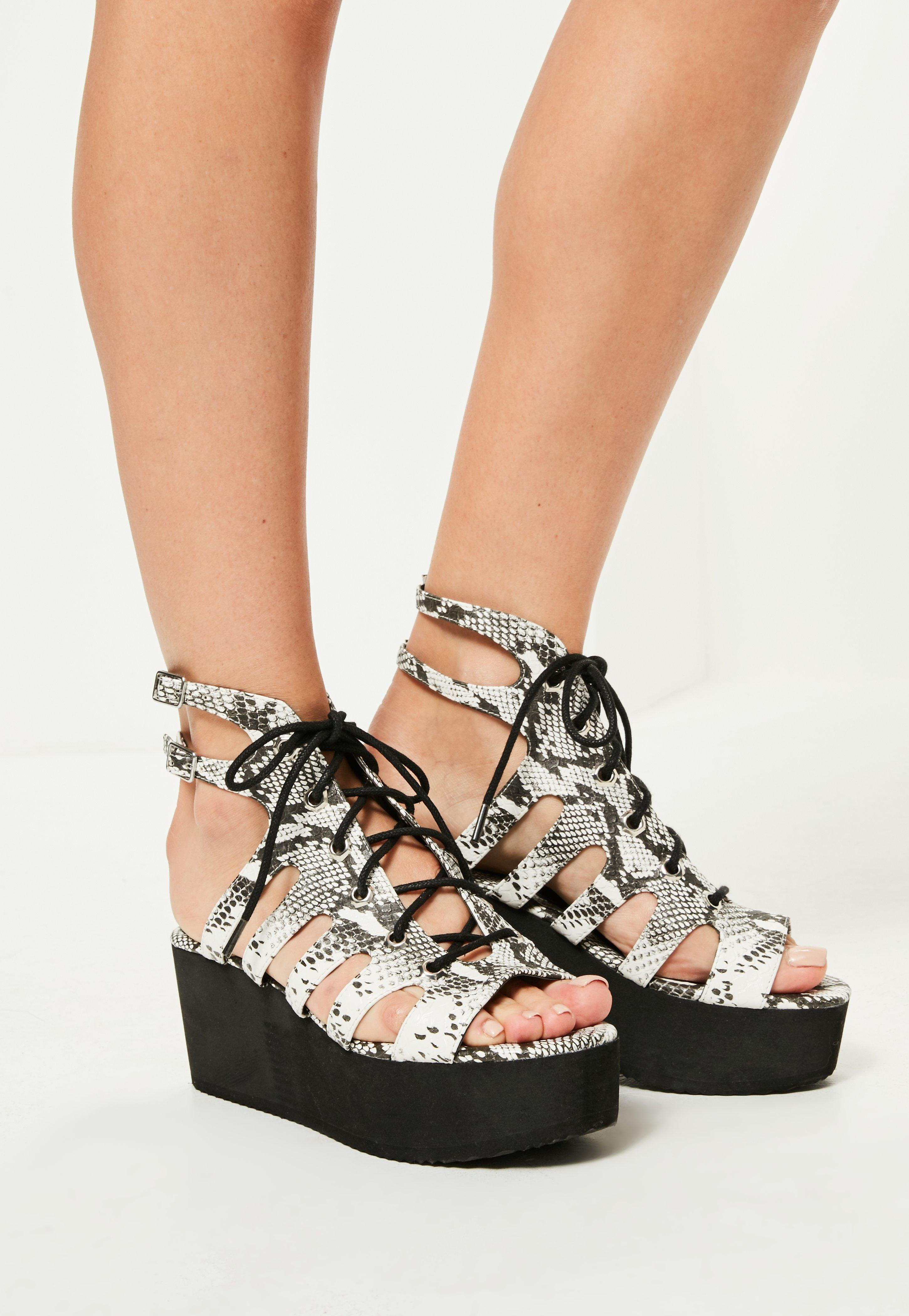 12a3b6a572de Lyst - Missguided Grey Snake Print Lace Up Flatform Sandals in Gray
