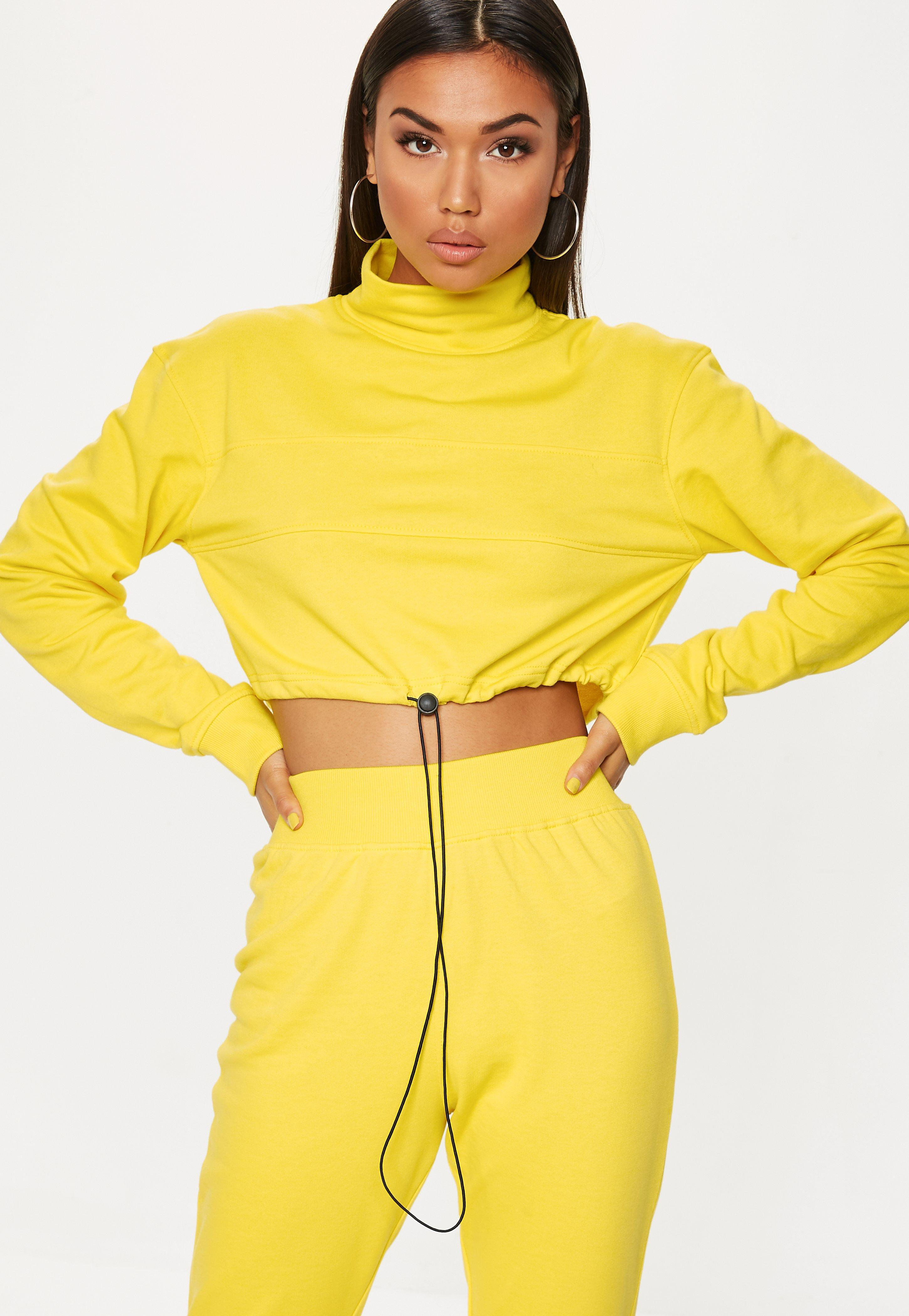 638c06fc6 Lyst - Missguided Yellow High Neck Drawstring Cropped Hoodie in Yellow