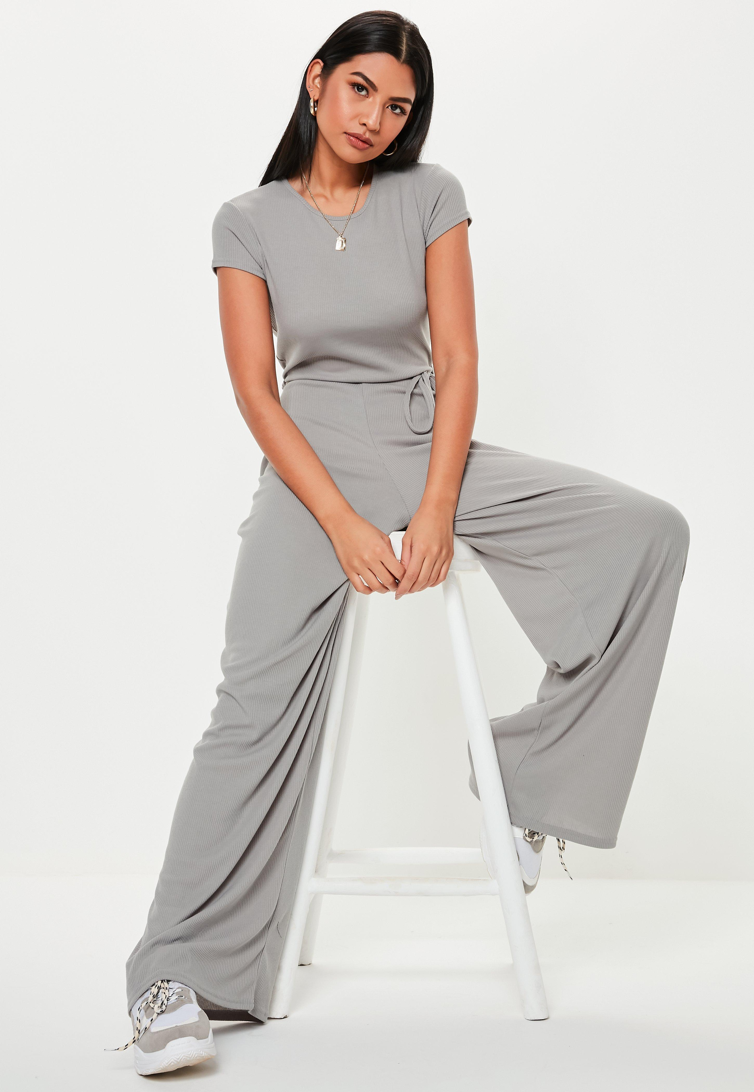 a7405199190c Lyst - Missguided Grey Ribbed Short Sleeve Jumpsuit in Gray