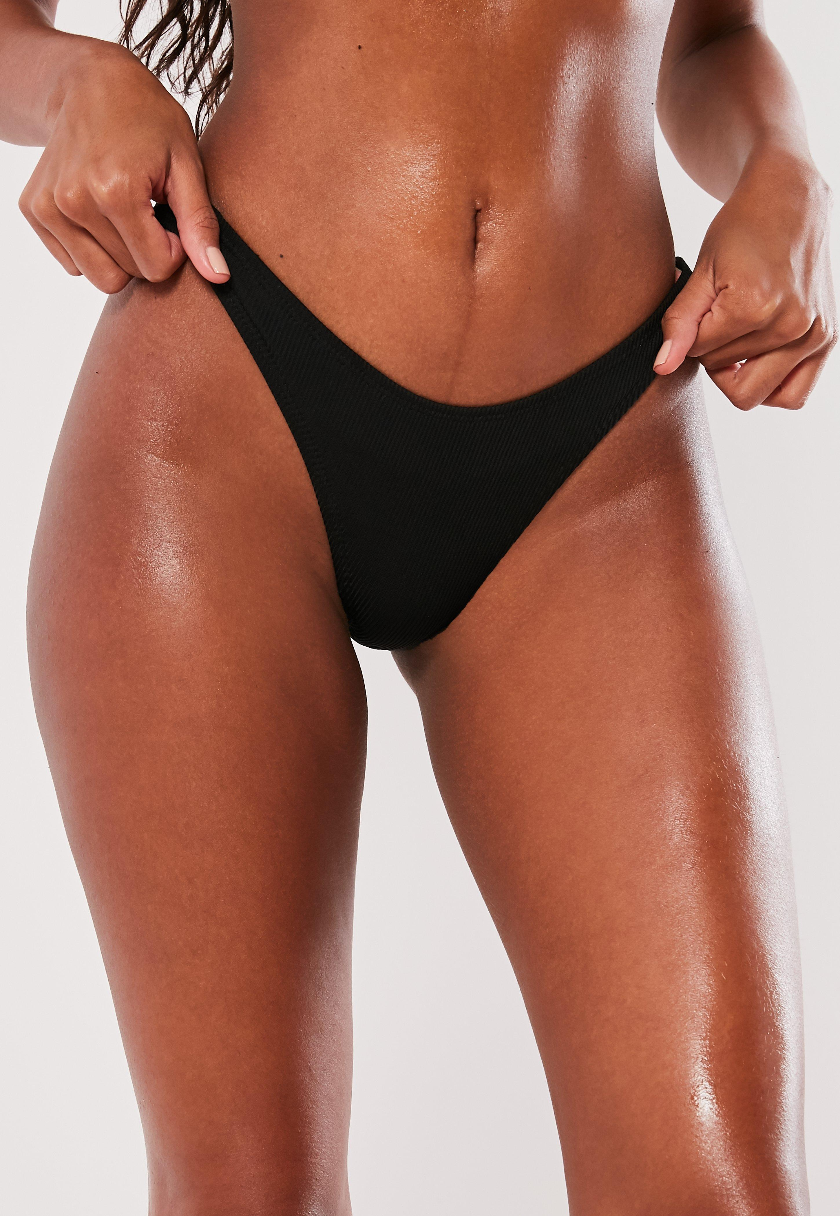 7d49d5c8c8206 Missguided - Black Rib High Leg Boomerang Bikini Bottoms - Lyst. View  fullscreen
