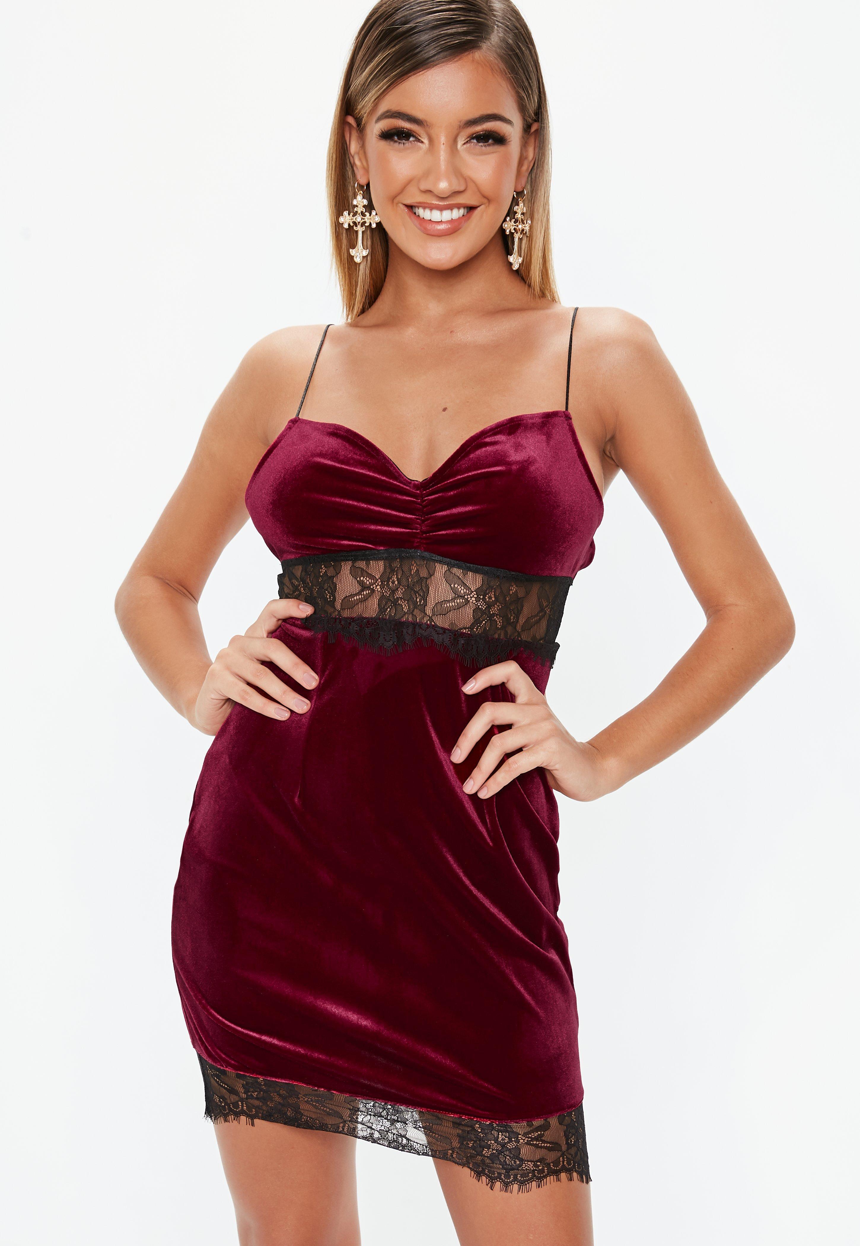 59de1d6adbca Lyst - Missguided Petite Burgundy Lace Insert Velvet Mini Dress in Red