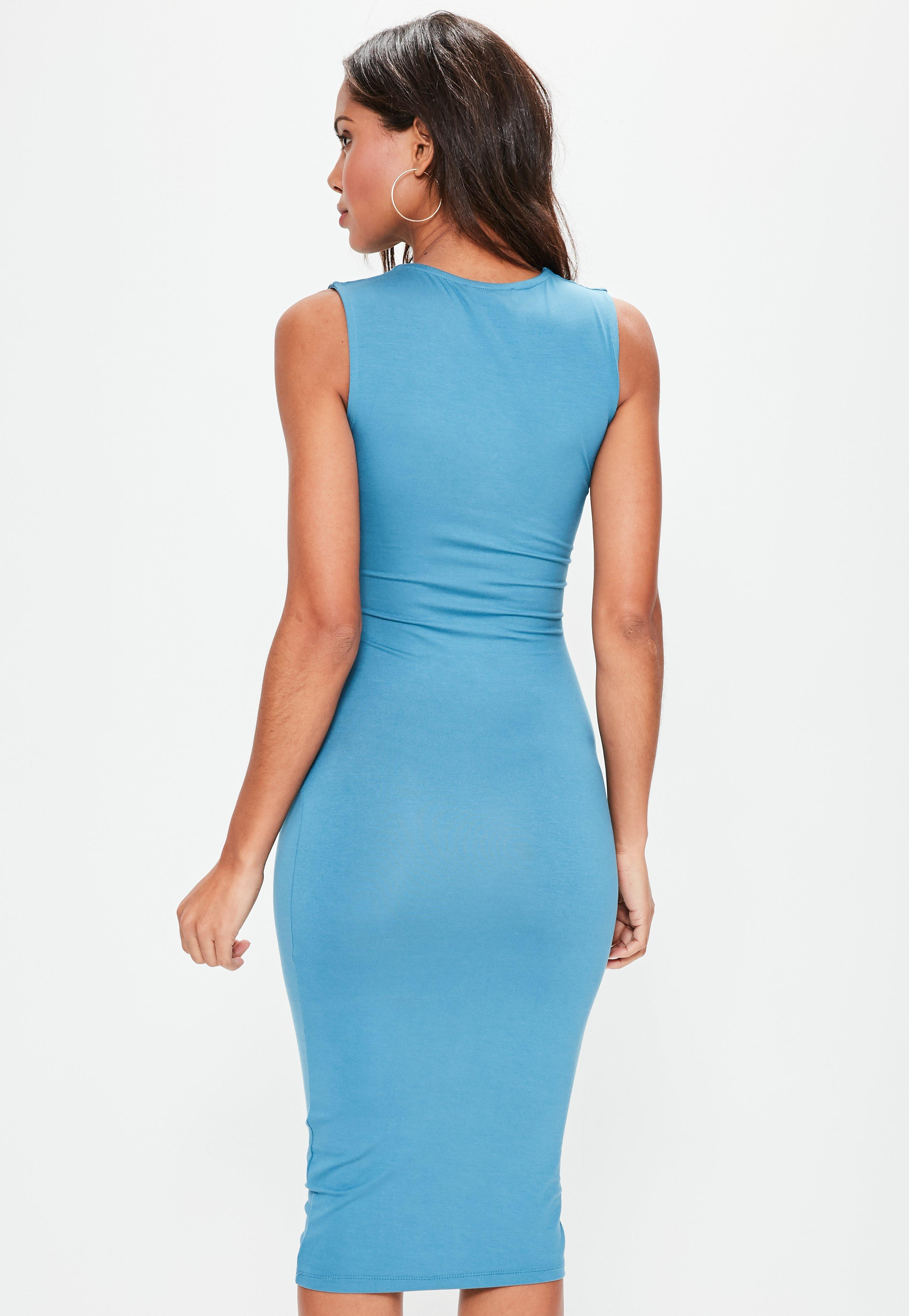 Lyst - Missguided Blue Extreme Plunge Midi Band Dress in Blue 523456fea