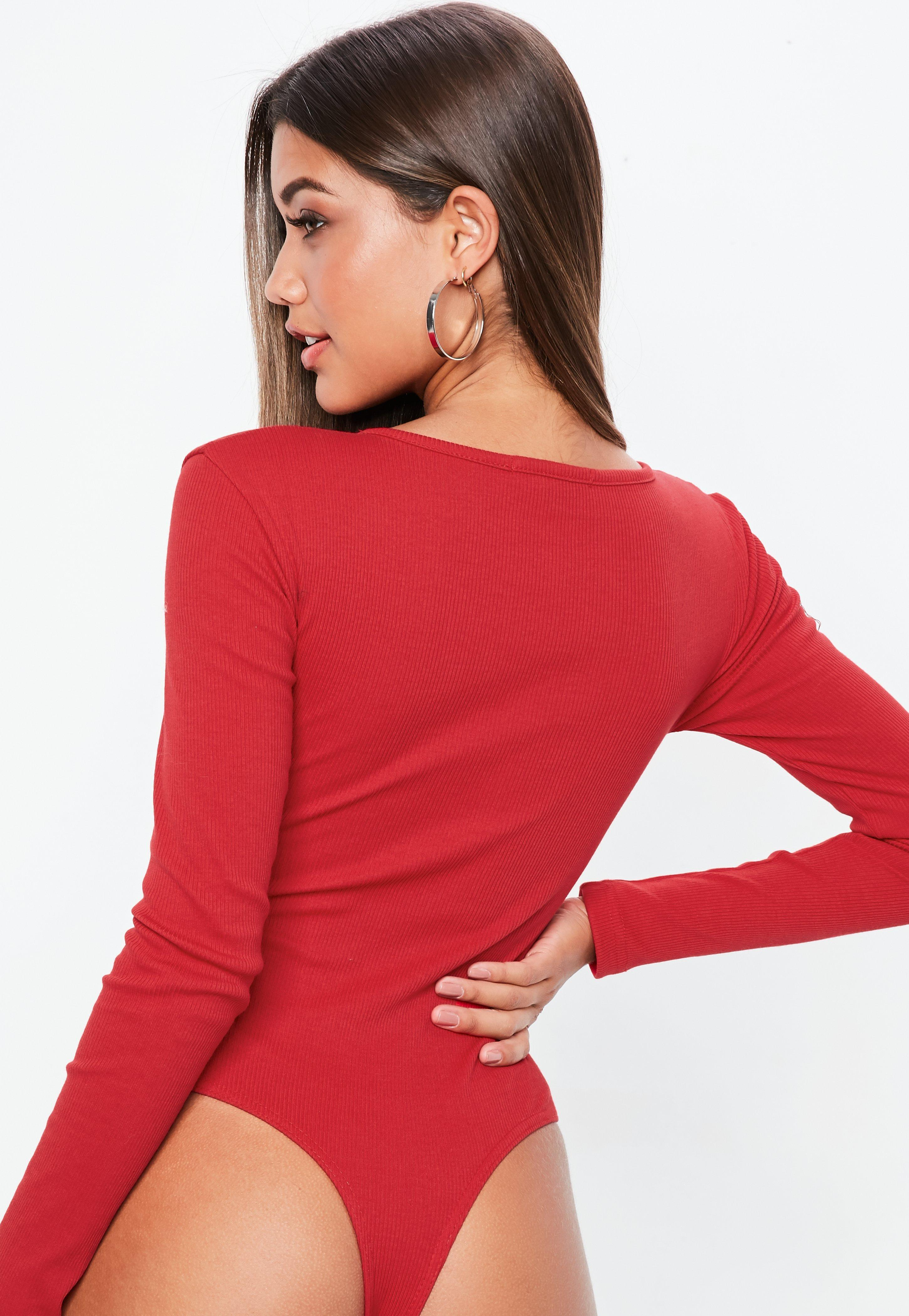 Lyst - Missguided Red Zip Front Scoop Neck Long Sleeve Rib Bodysuit ... 9197a5443
