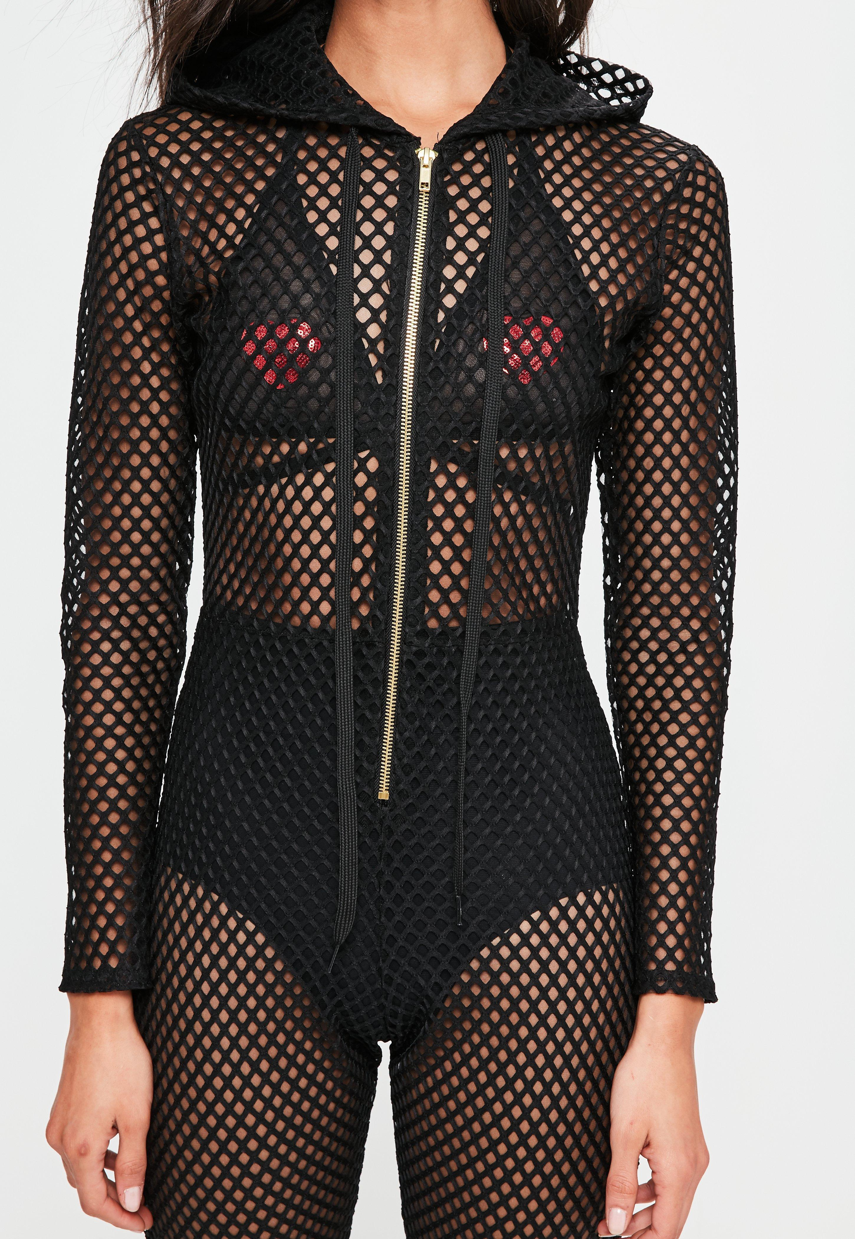 d5938117c8be Lyst - Missguided Black Hooded Fishnet Jumpsuit in Black