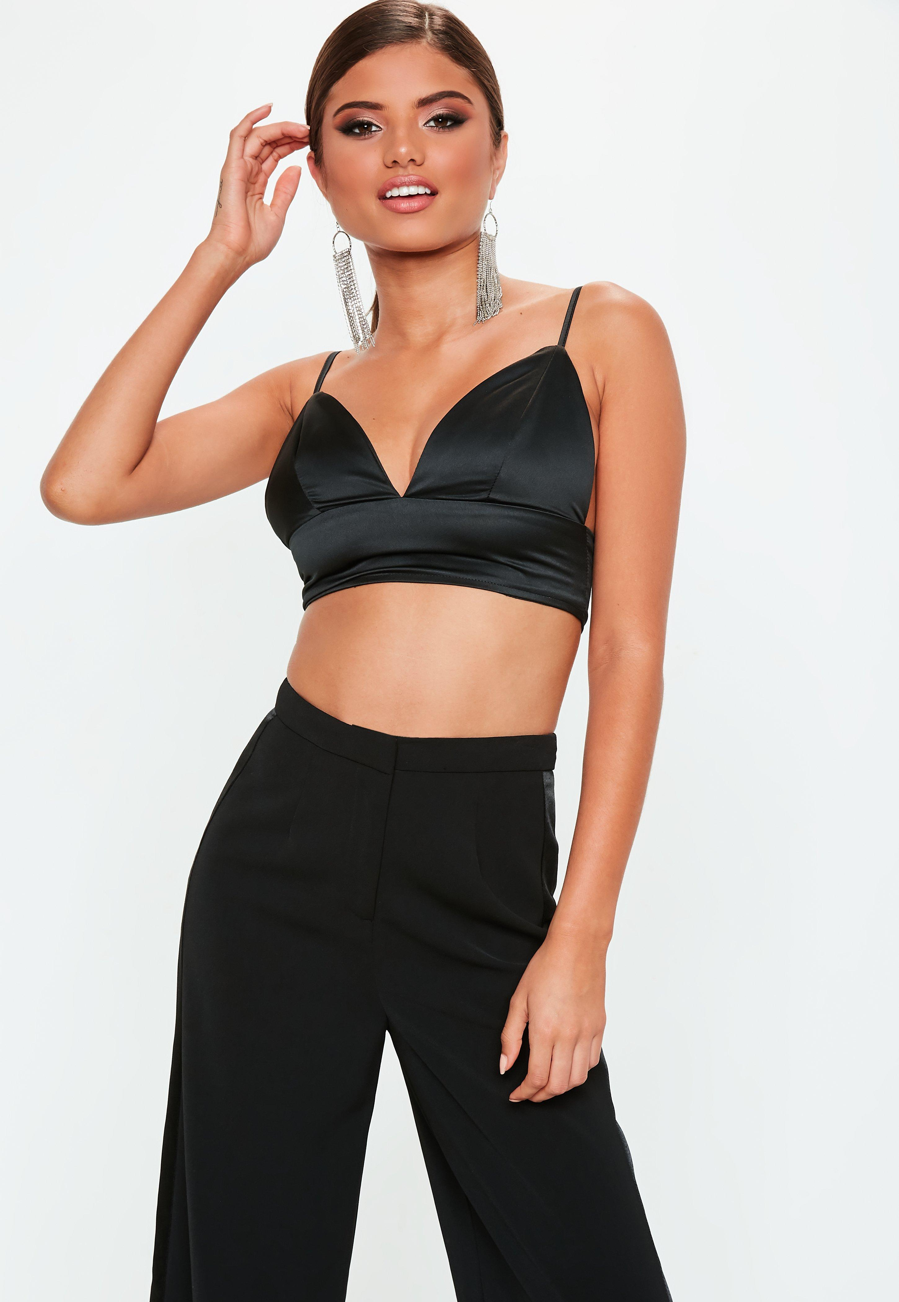aabe4eef2b Missguided Black Satin Basic Bralet in Black - Save 49% - Lyst