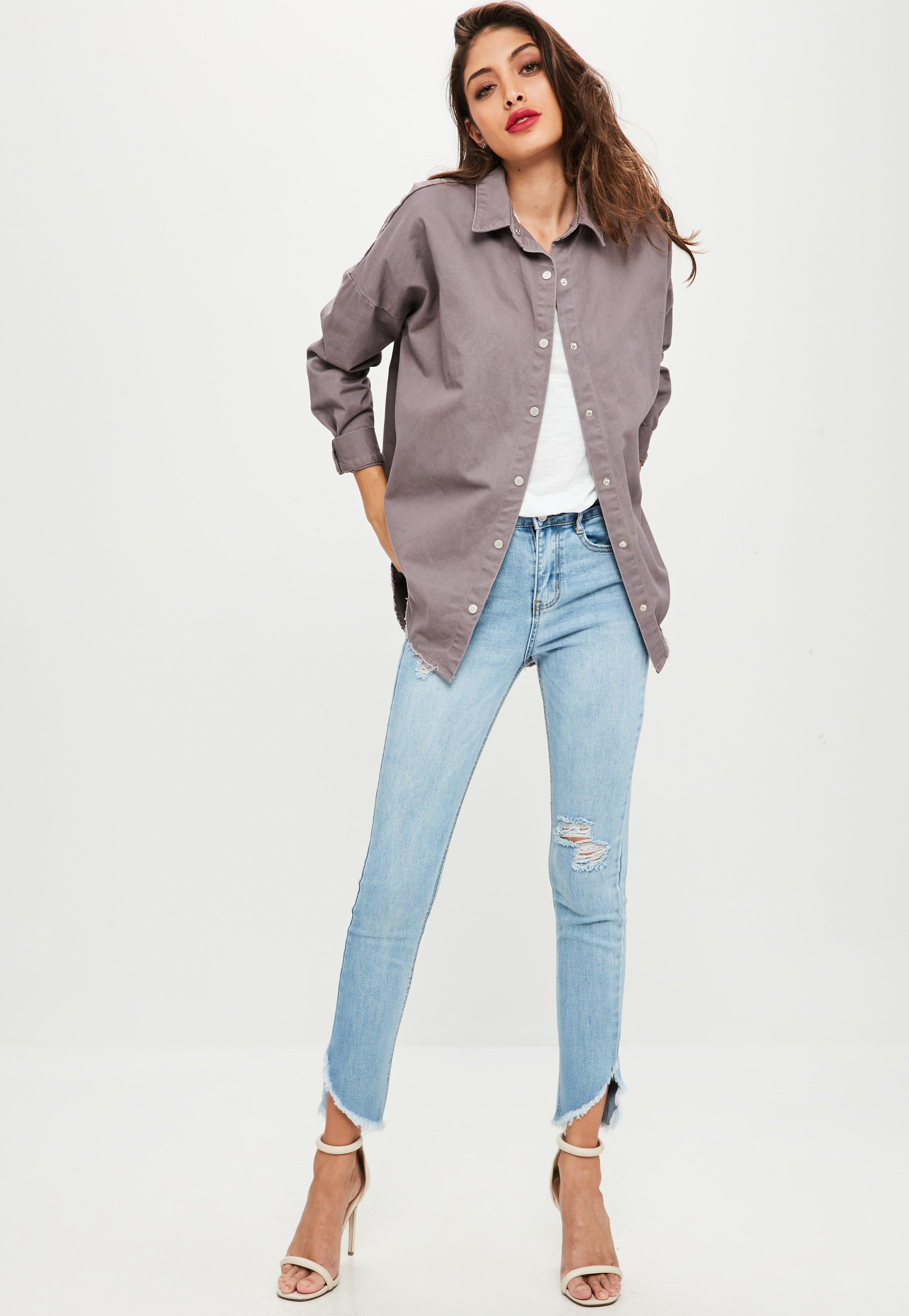 Lyst - Missguided Blue Sinner High Waisted Split Hem Skinny Jeans in ... 6c23fee7849f
