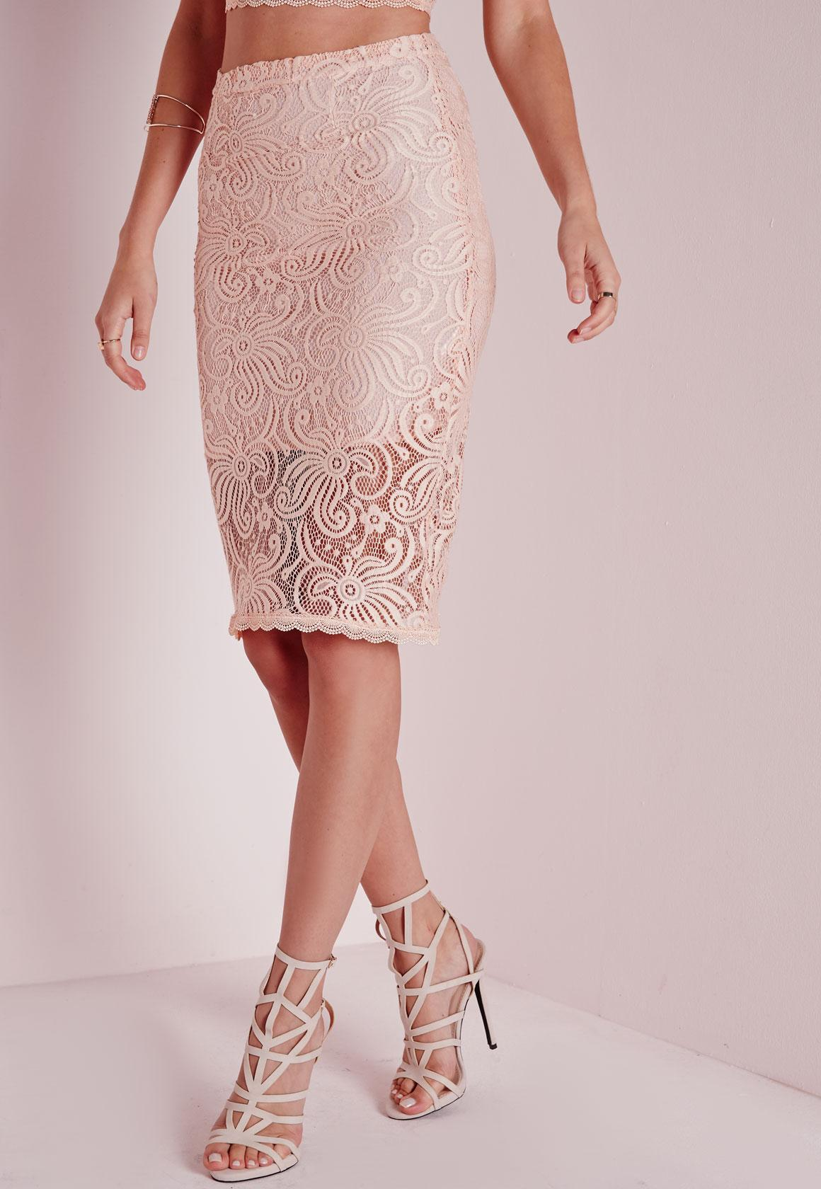 Lyst - Missguided Lace Midi Skirt Nude in Pink