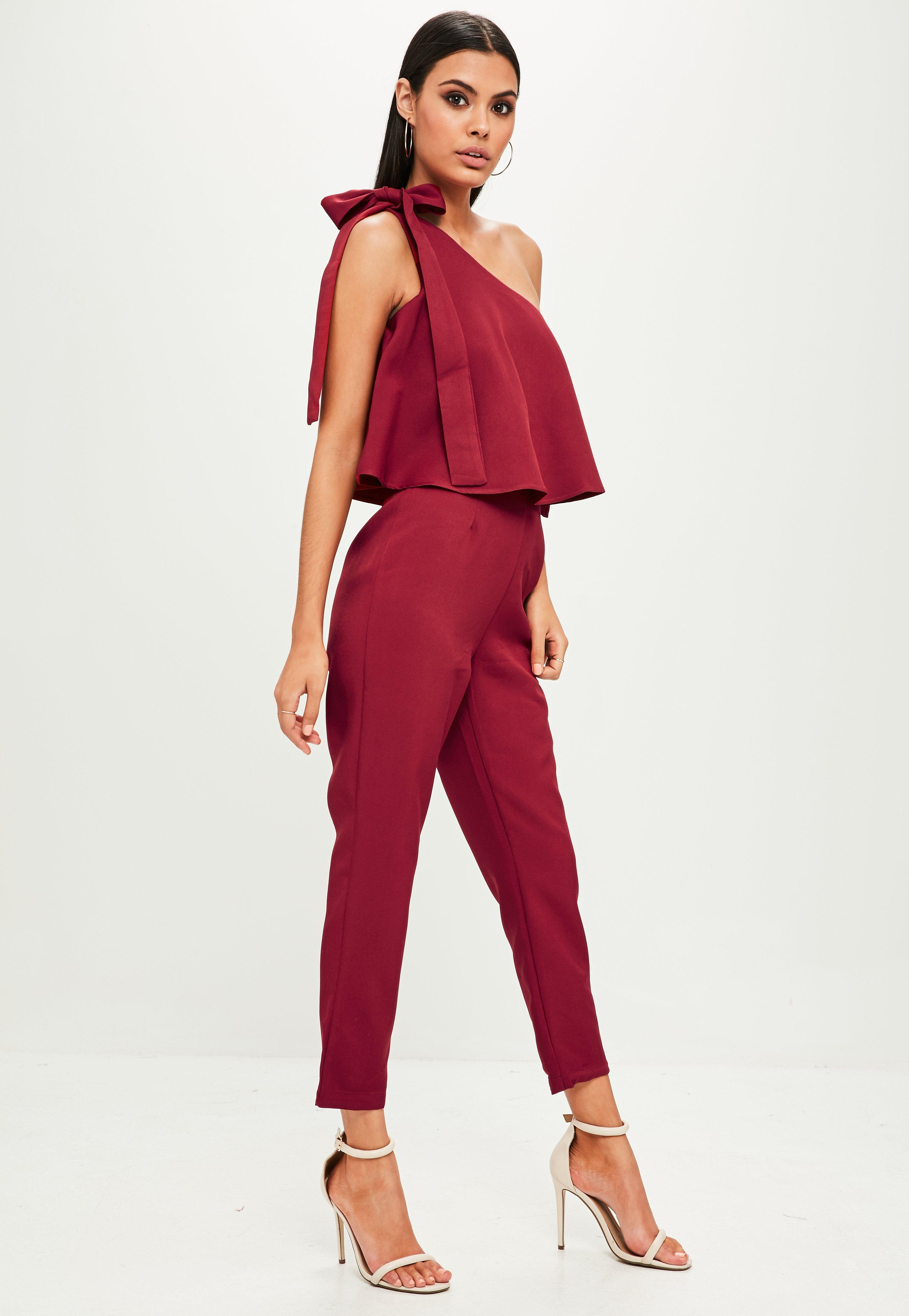 35e0b4fc42 Missguided Red One Shoulder Bardot Jumpsuit in Red - Lyst