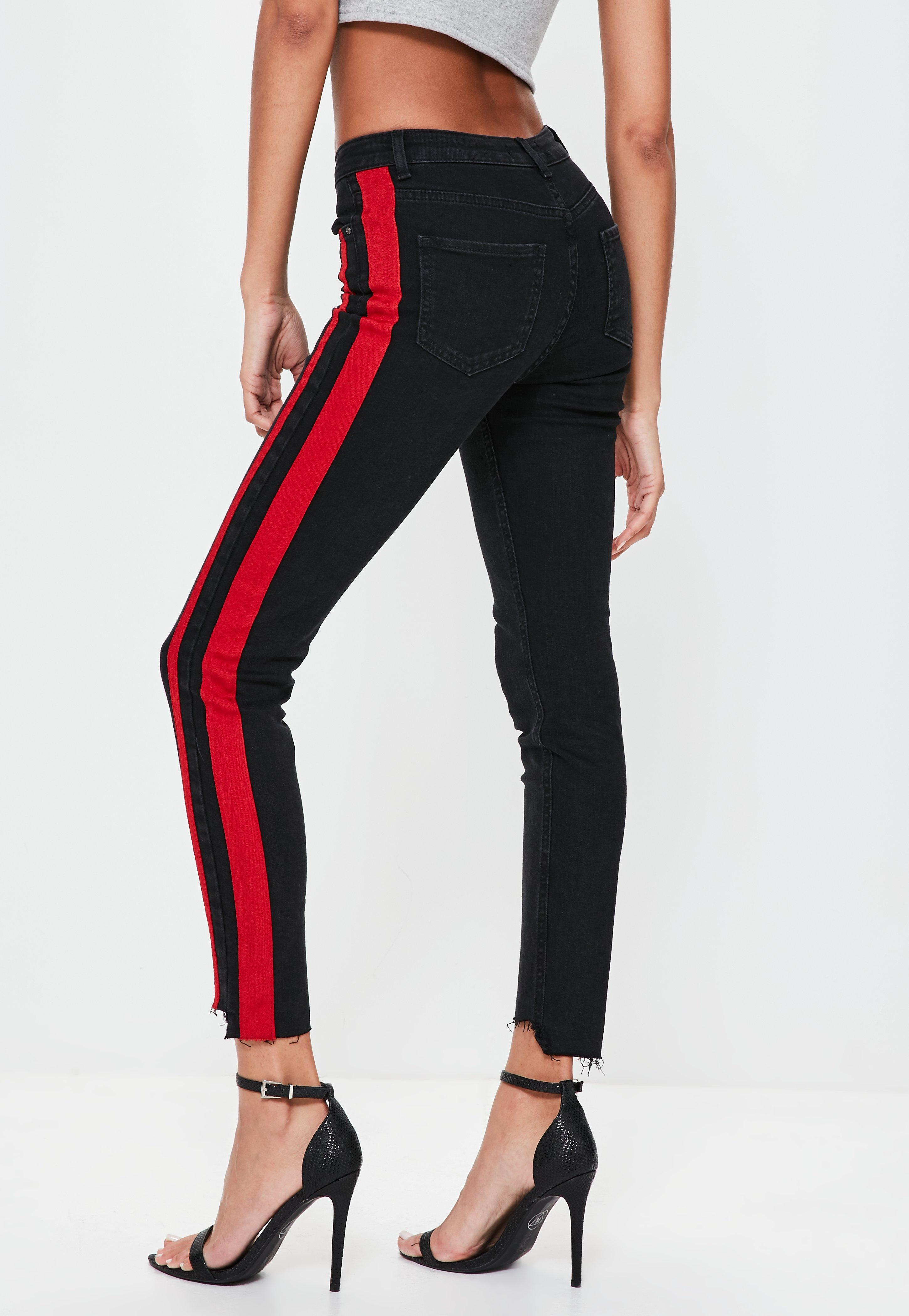 Lyst Missguided Black Anarchy Mid Rise Side Stripe