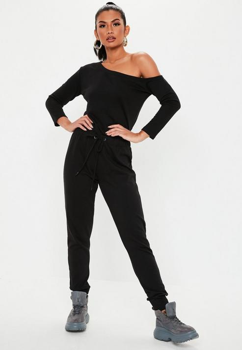 21e986b5c Missguided - Tall Black Long Sleeve Off Shoulder Jumpsuit - Lyst. View  fullscreen