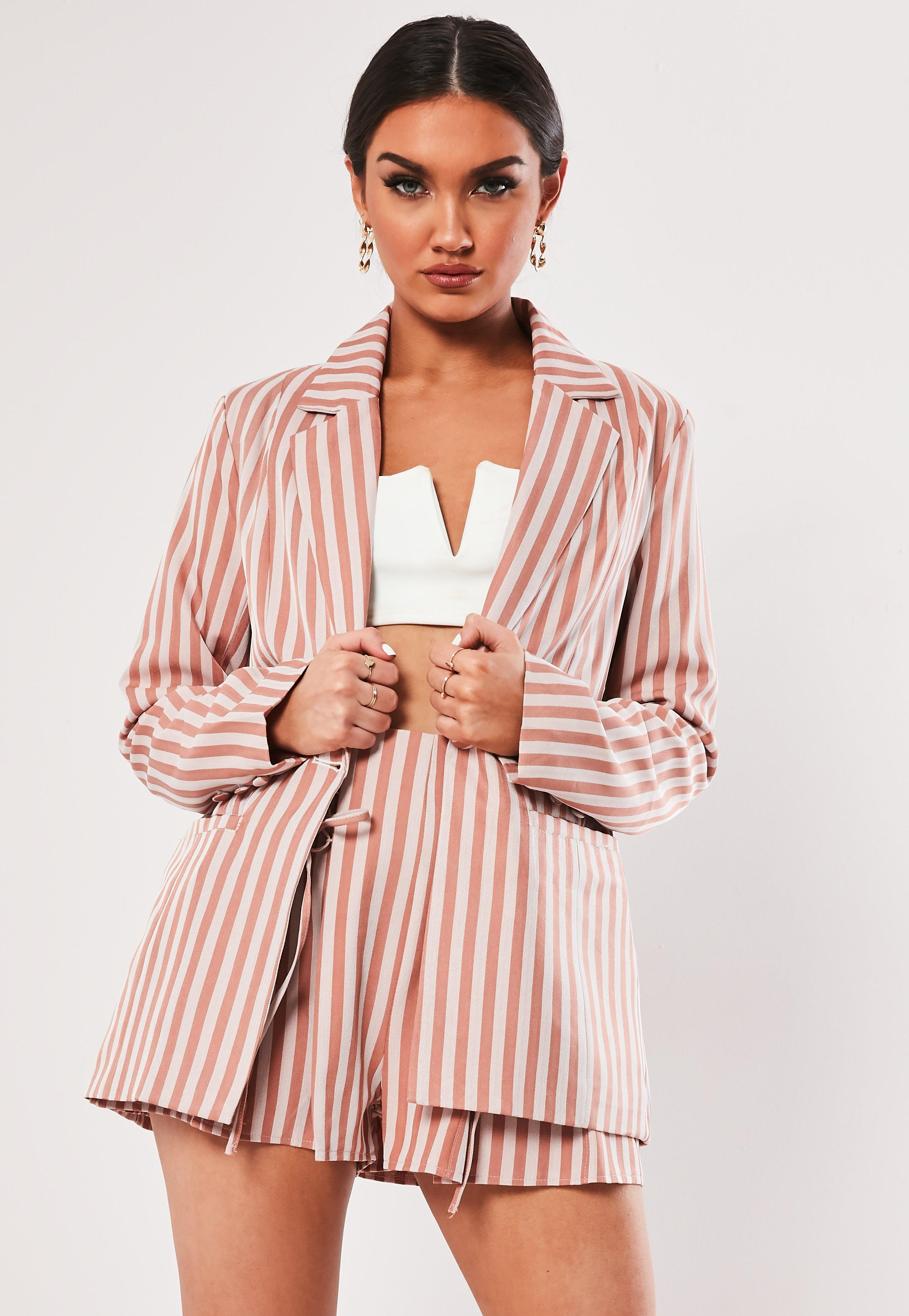 90494592c1ca Missguided. Women's Nude Stripe Co Ord Button Front Tailored Blazer