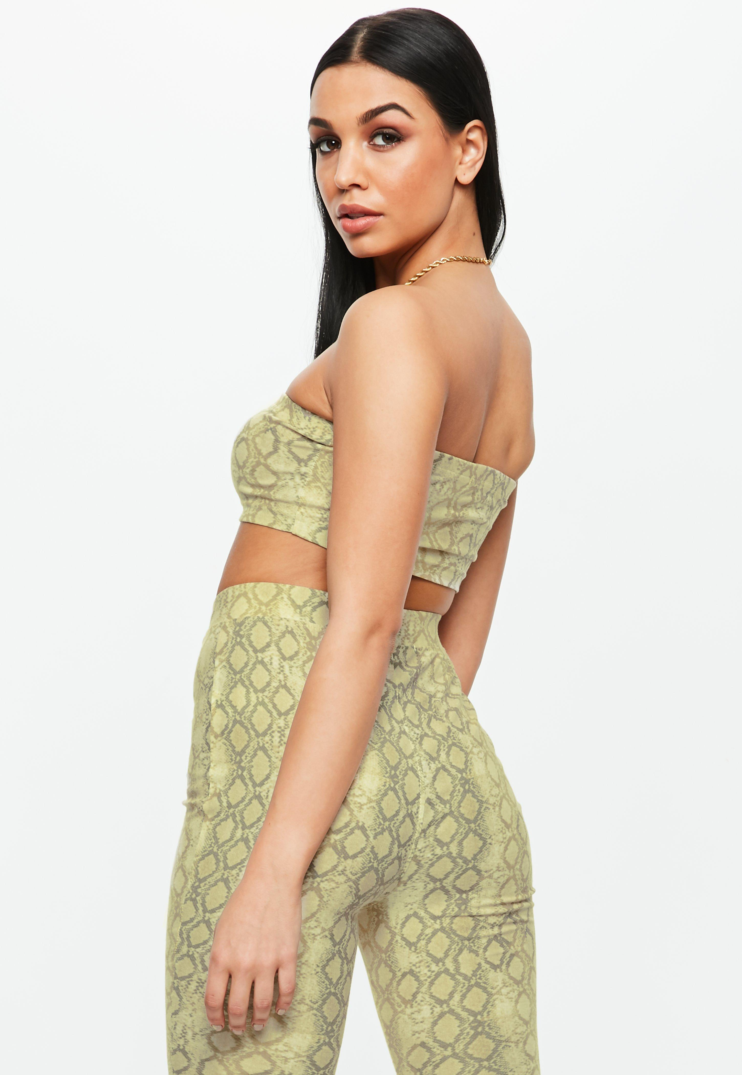 c4d76f806e7571 Lyst - Missguided Green Snake Print Bandeau Bralet in Green