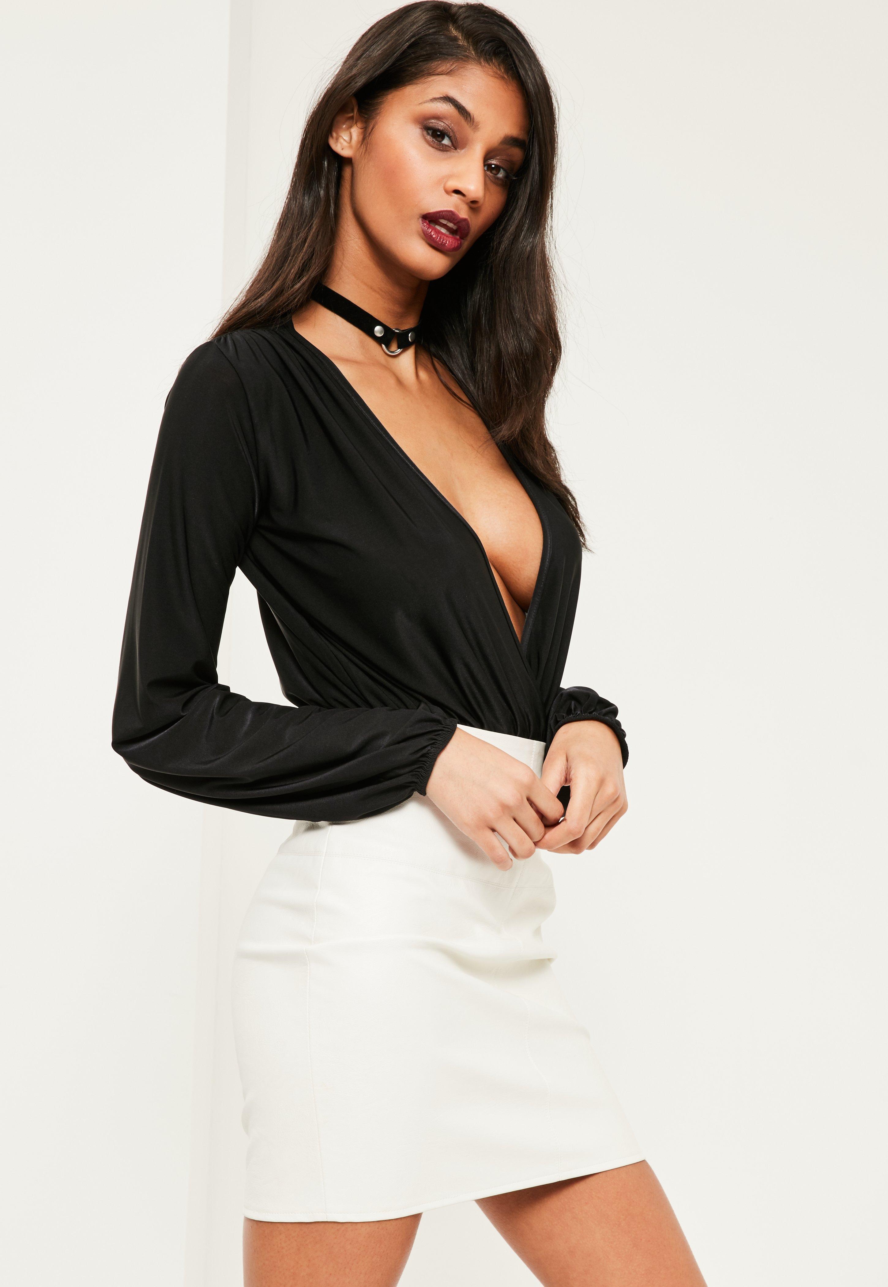 Lyst - Missguided Black Blouson Sleeve Wrap Front Bodysuit in Black 98c48ba47
