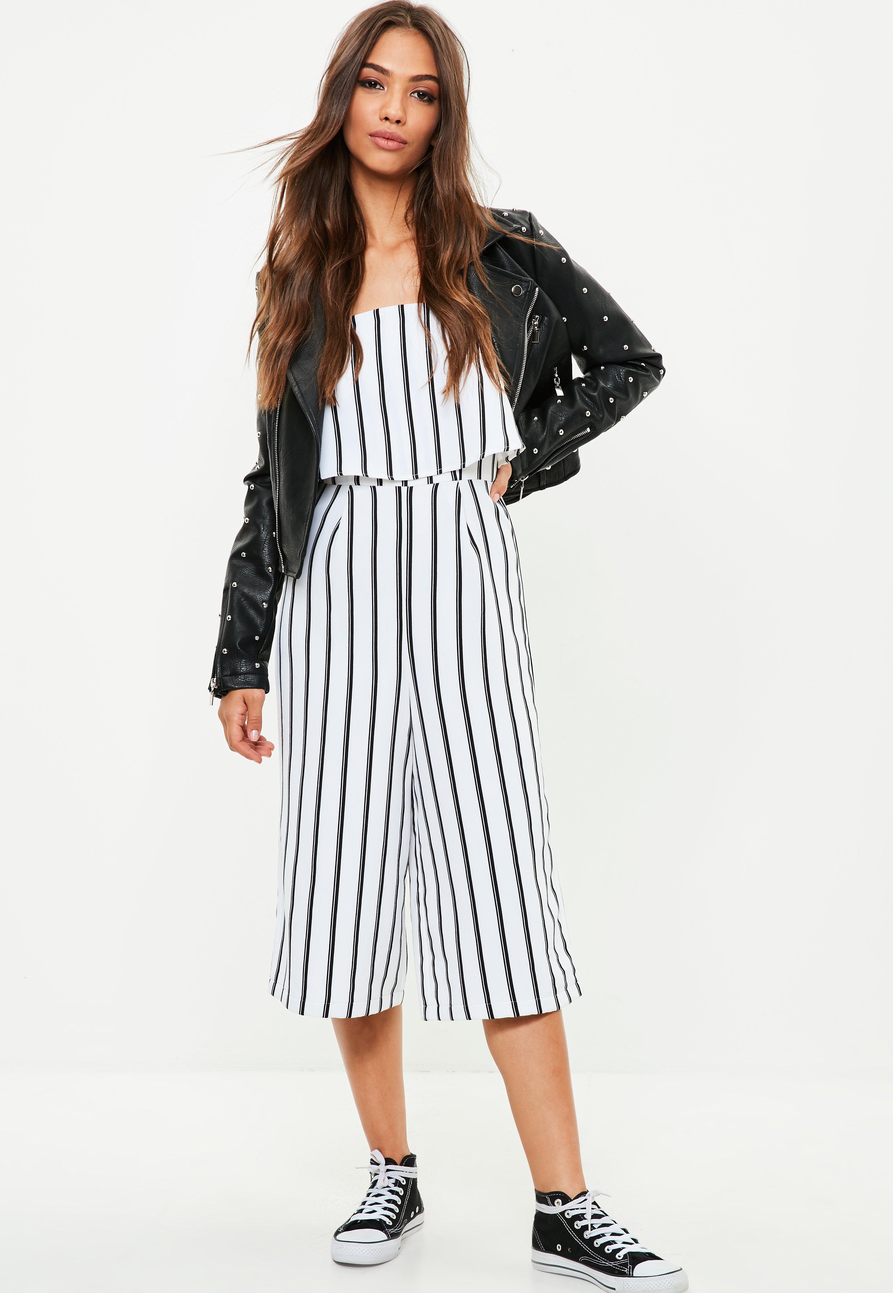 825a8e56b6 Lyst - Missguided White Striped Bardot Culotte Jumpsuit in White
