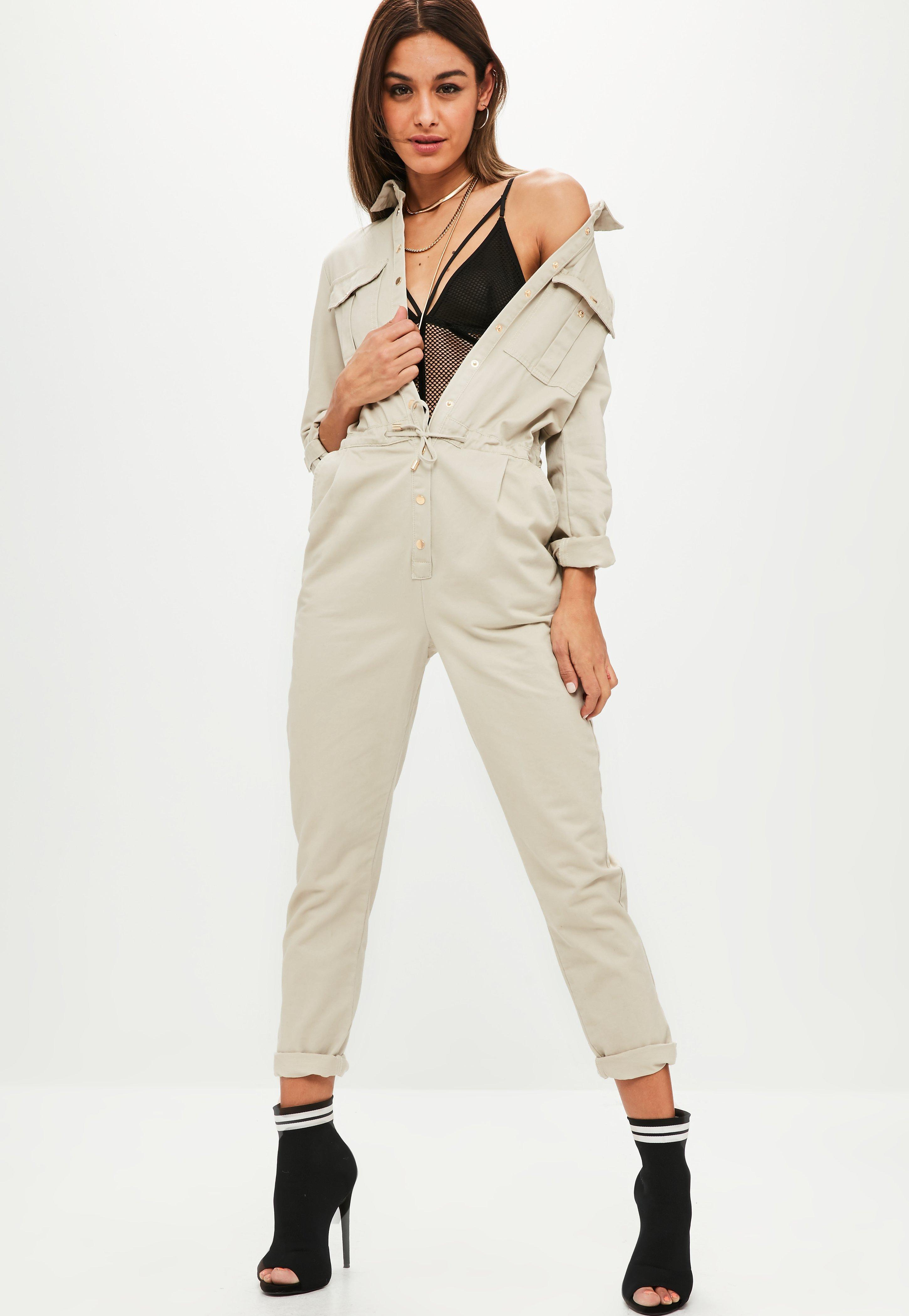 42217bc4eb1f Missguided Cream Utility Jumpsuit in Natural - Lyst