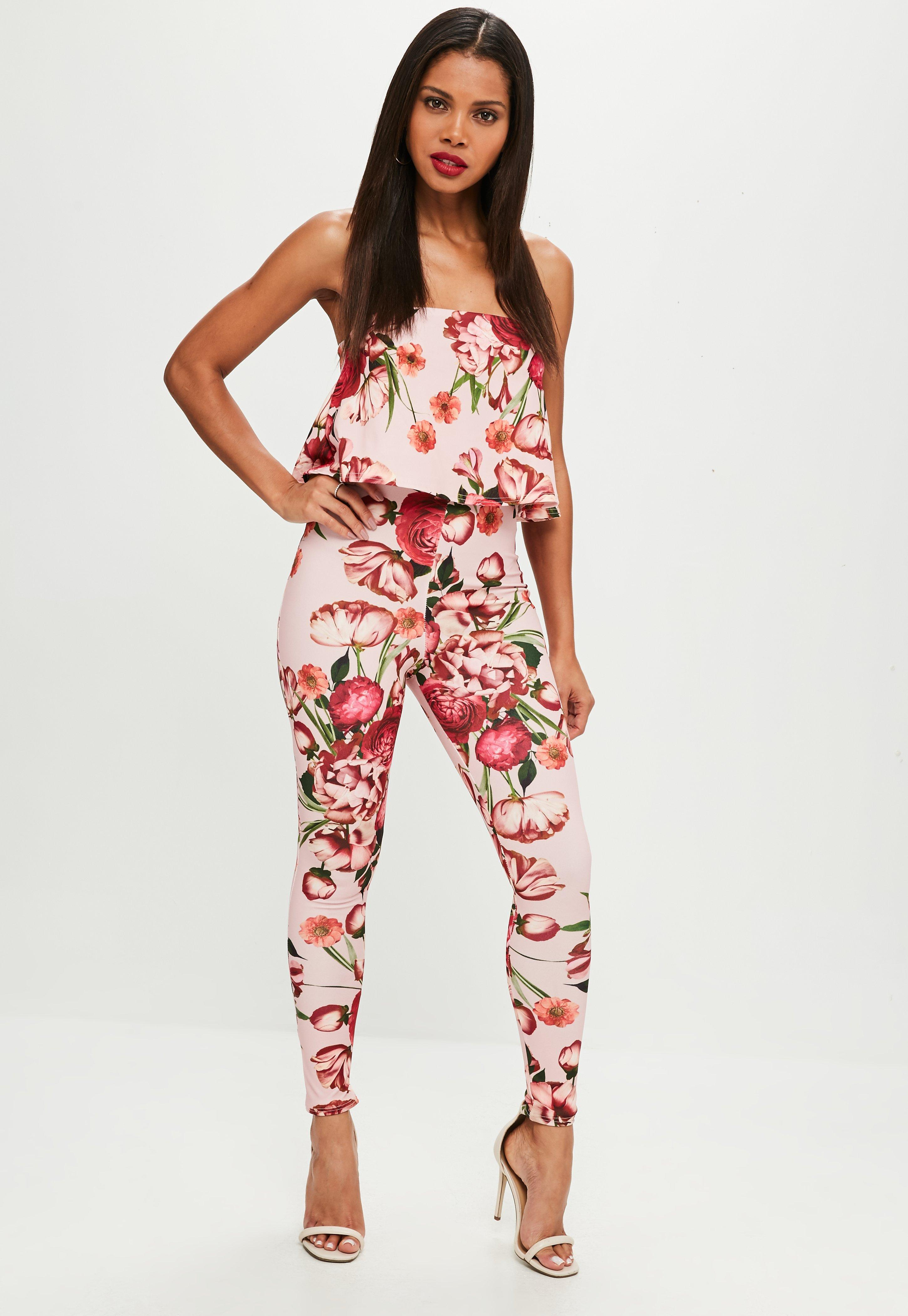 38c0265a17b5ef Lyst - Missguided Pink Printed Bandeau Double Layer Jumpsuit in Pink