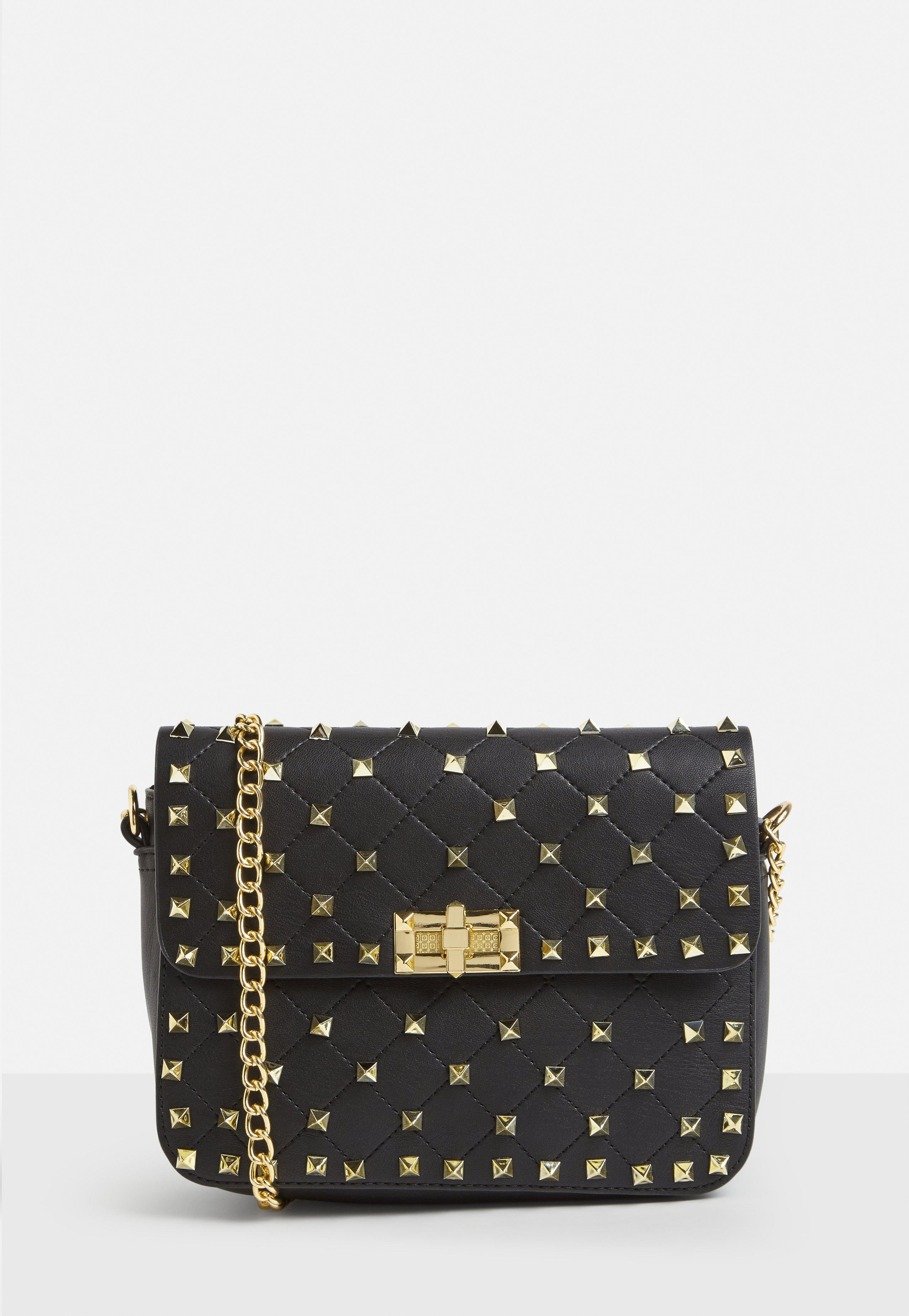7834fc7ecd Missguided Black Faux Leather Gold Stud Cross Body Bag in Black - Lyst