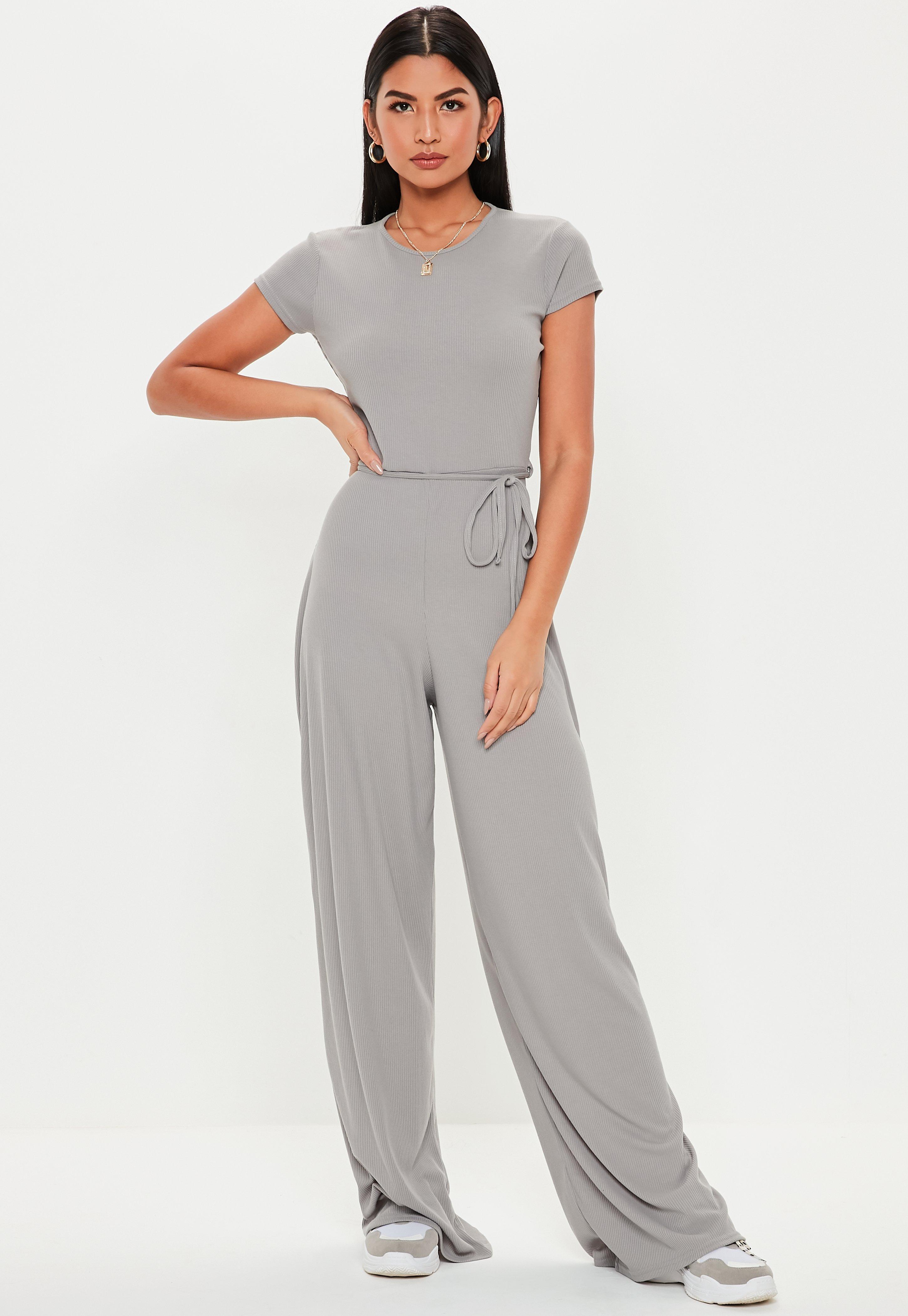 0dbcaf8211e7 Missguided - Gray Grey Ribbed Short Sleeve Jumpsuit - Lyst. View fullscreen