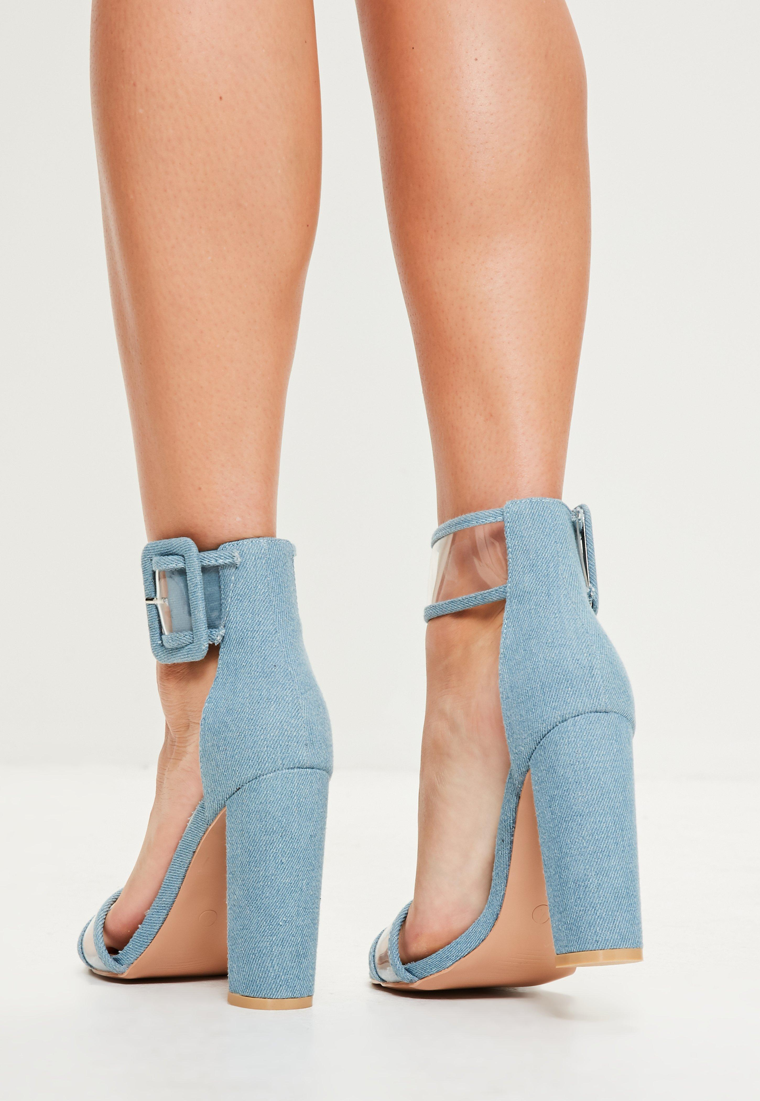 5cd37d11152 Missguided Blue Denim Clear Ankle Strap Block Heels in Blue - Lyst