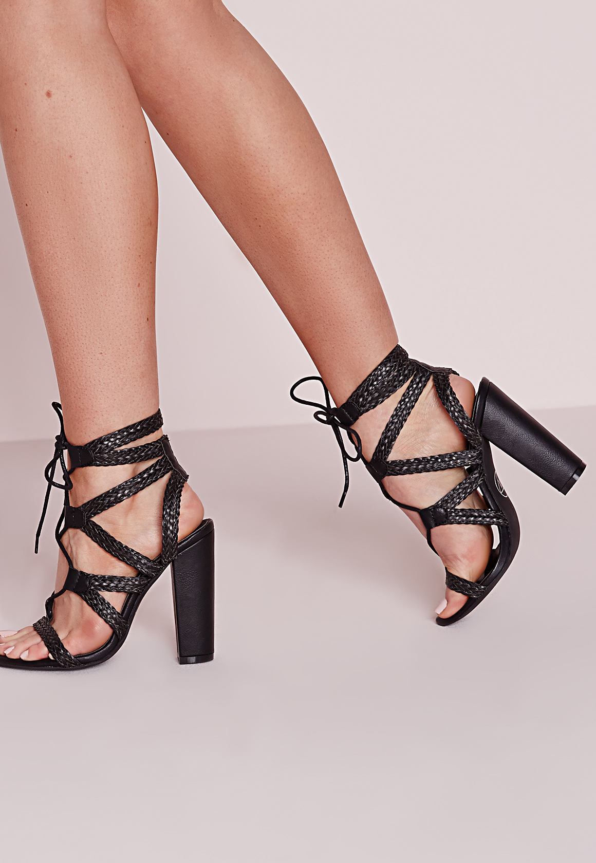Missguided Plaited Lace Up Block Heel Sandals Black In