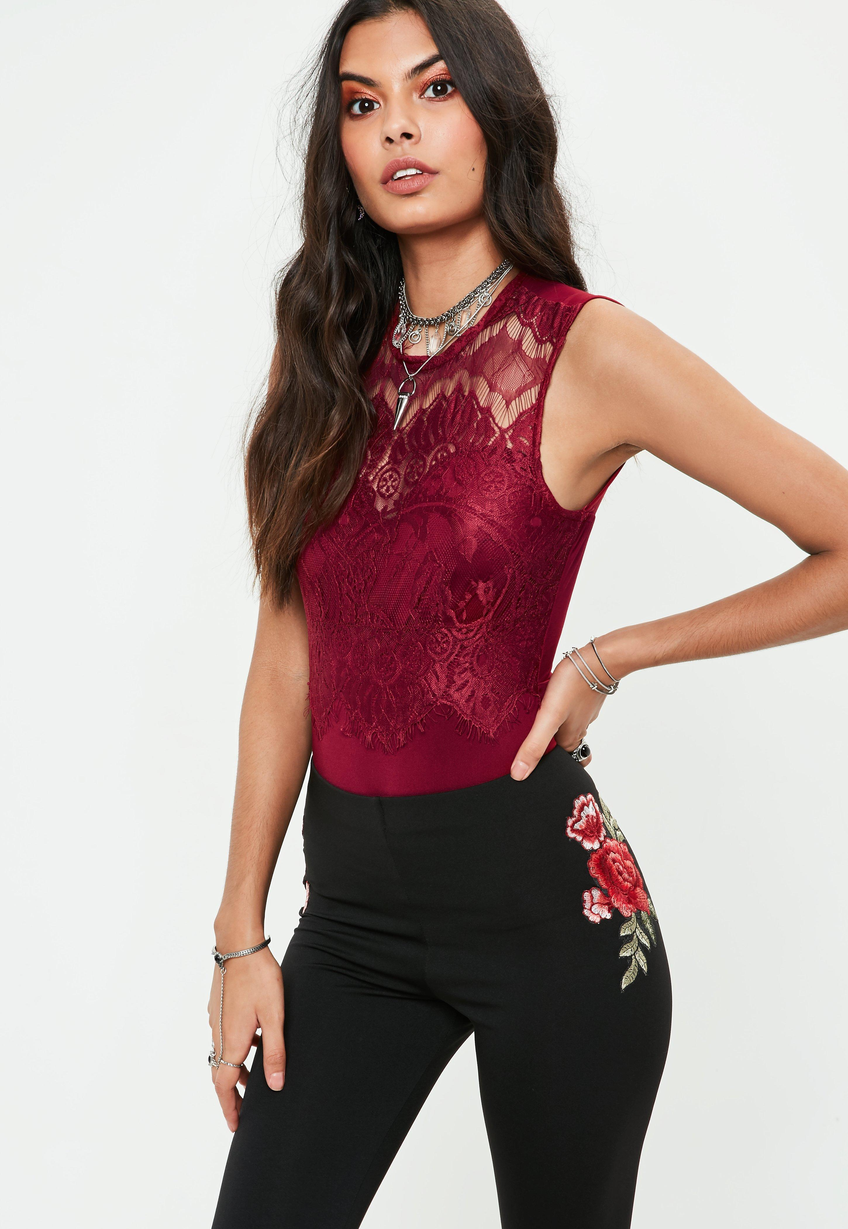 Lyst - Missguided Burgundy Lace Bodysuit in Red