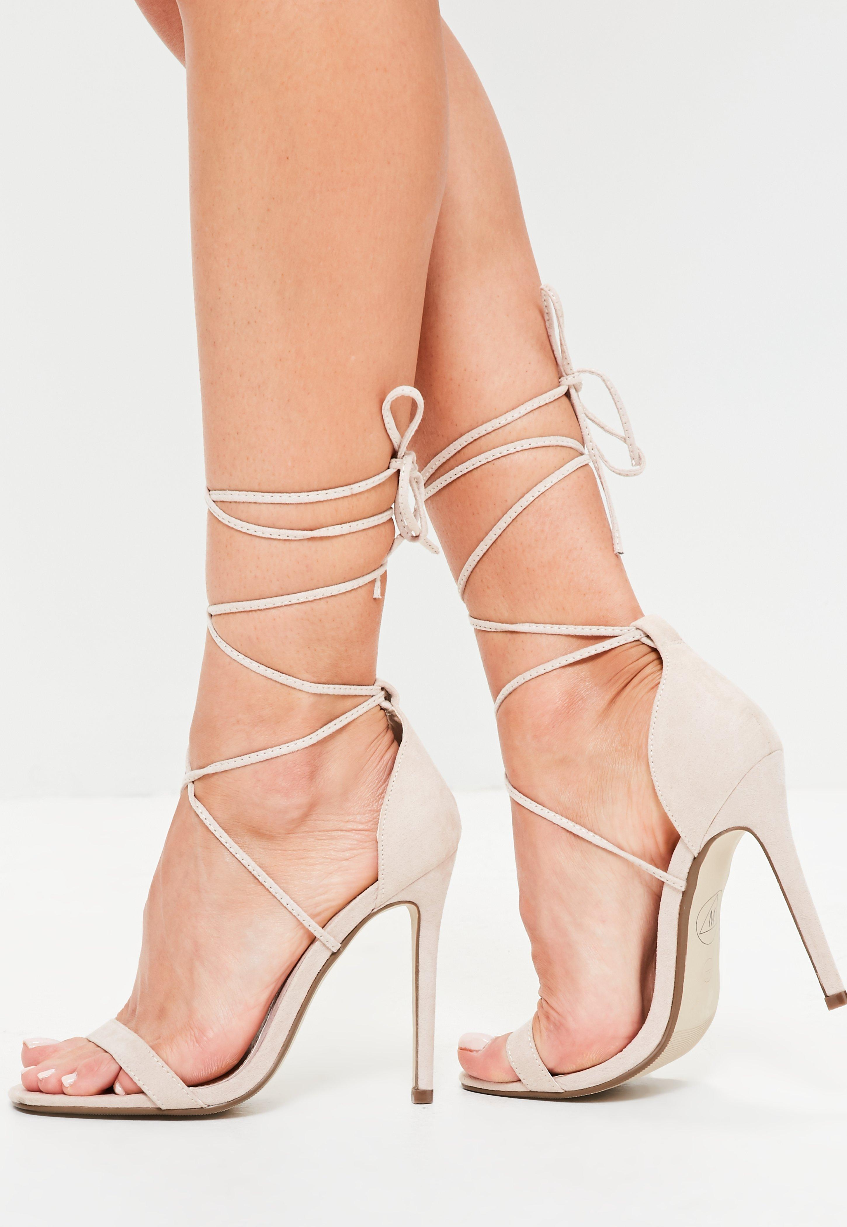 Missguided. Women's Natural Lace Up Barely There Heeled Sandals Nude