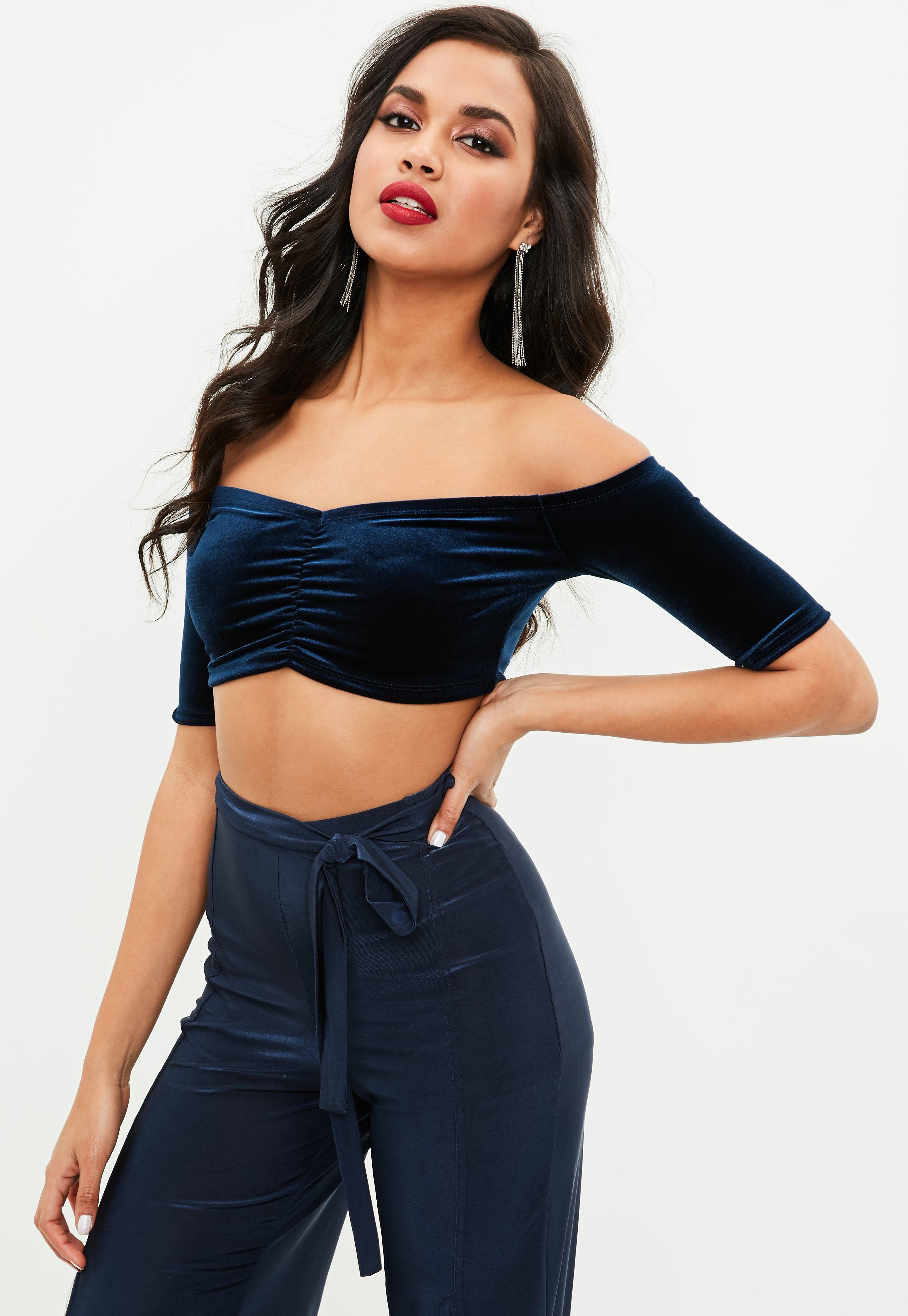 1fc97779371 Missguided Navy Velvet Ruched Bardot Crop Top in Blue - Lyst