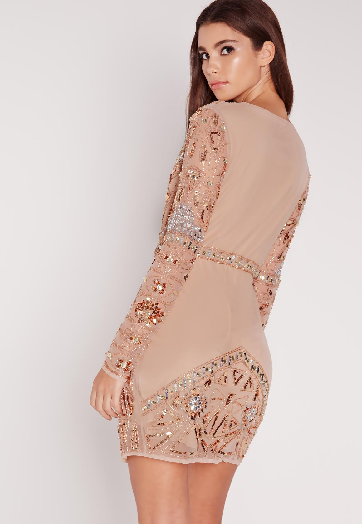 Missguided Premium Long Sleeve Sequin Embellished Wrap