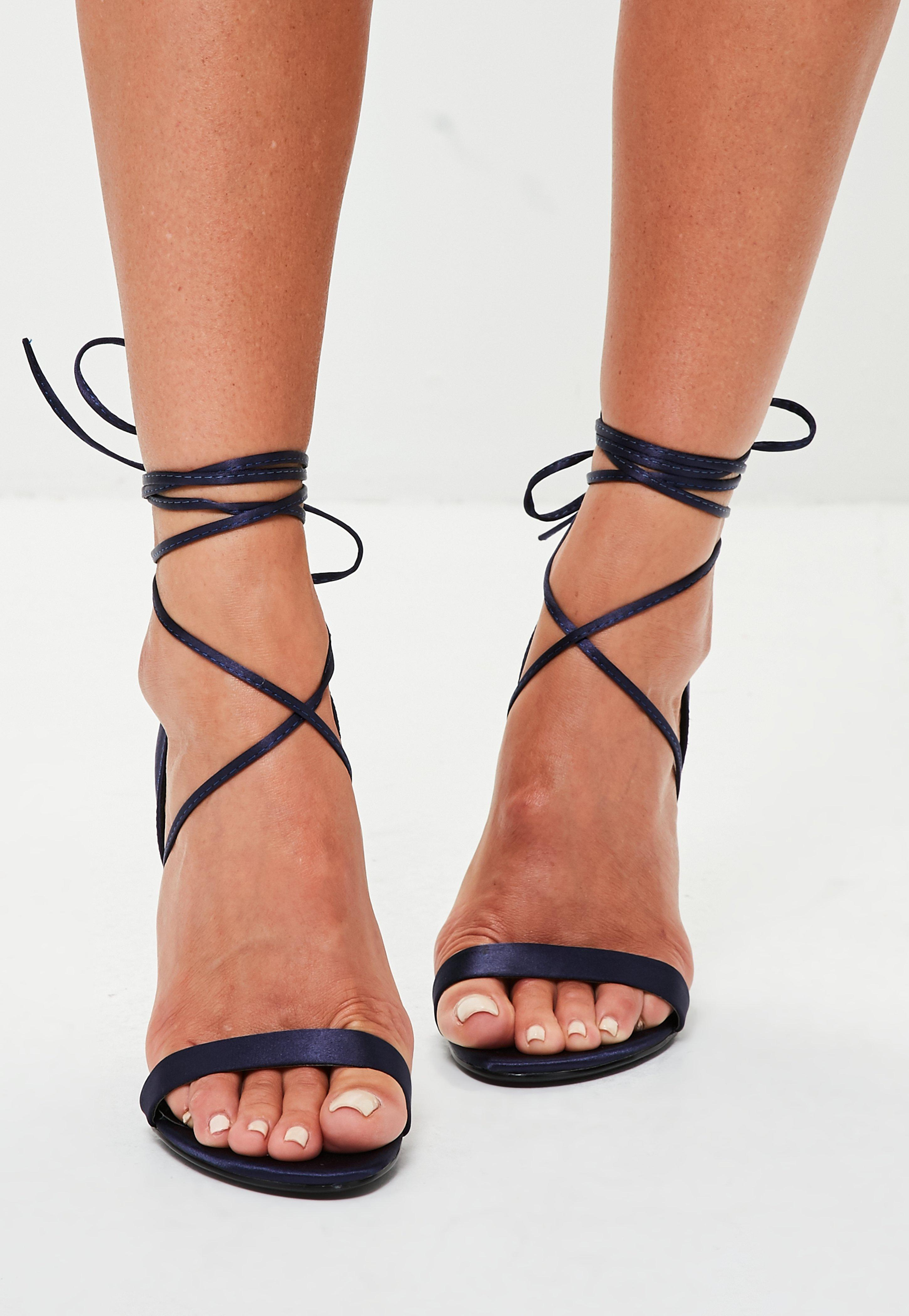674de2a02ac8 Lyst - Missguided Navy Satin Lace Up Barely There Heel in Blue