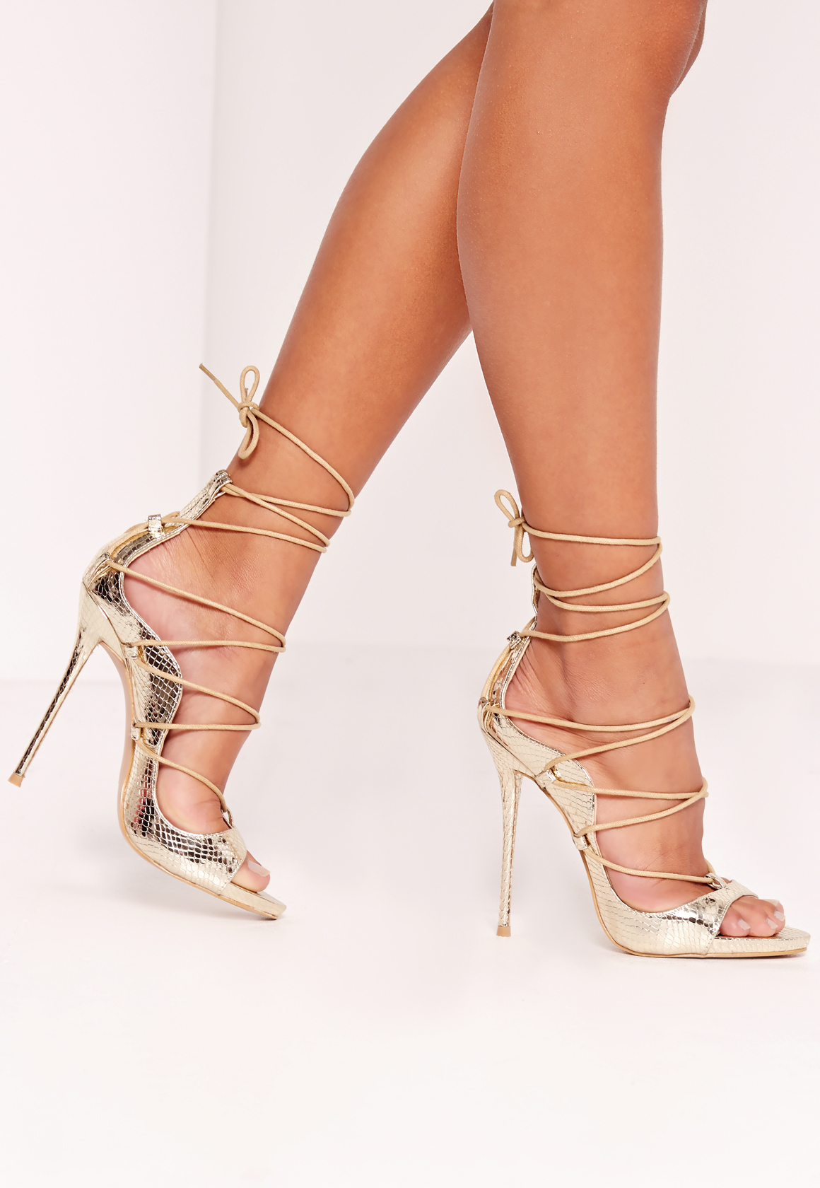 Missguided Reptile Lace Up Heeled Sandals Gold In Metallic