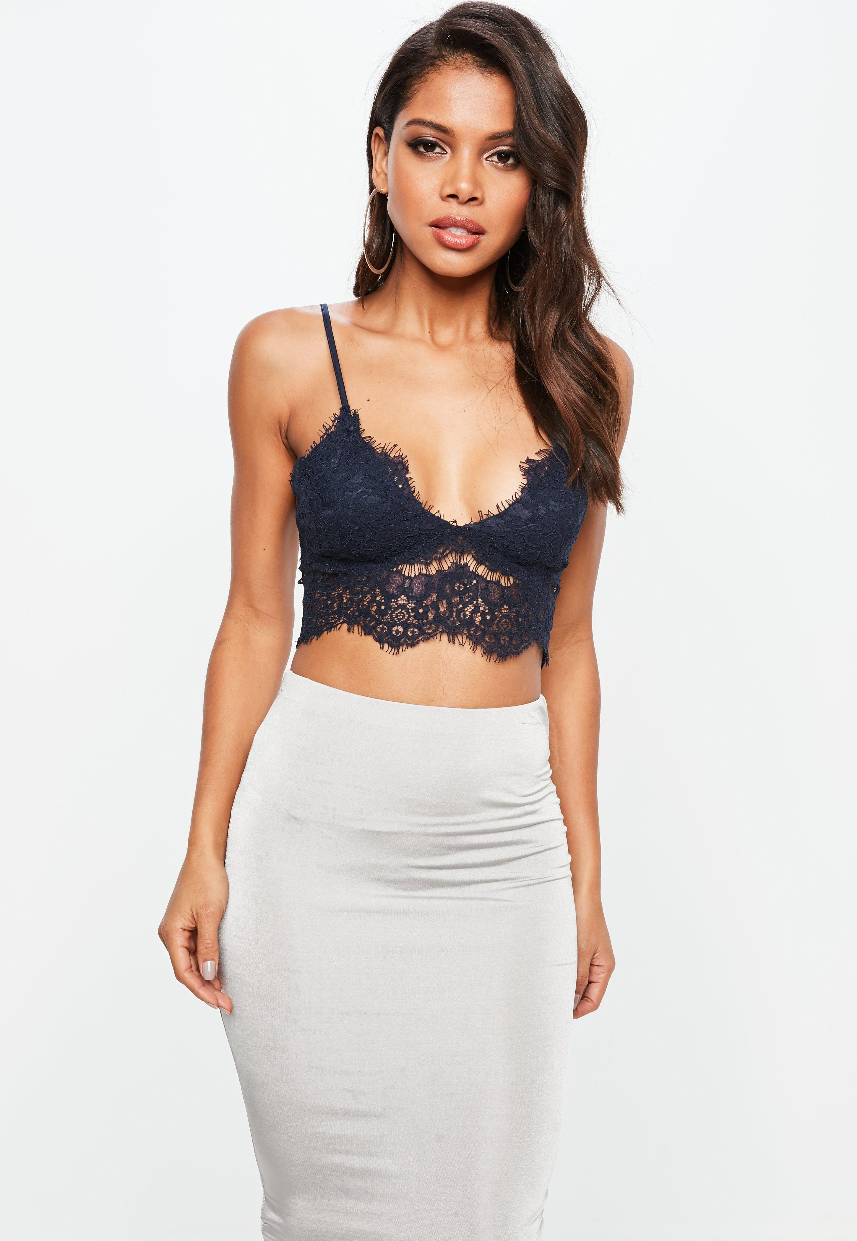 92a3349285 Lyst - Missguided Navy Corded Lace Bralette in Blue