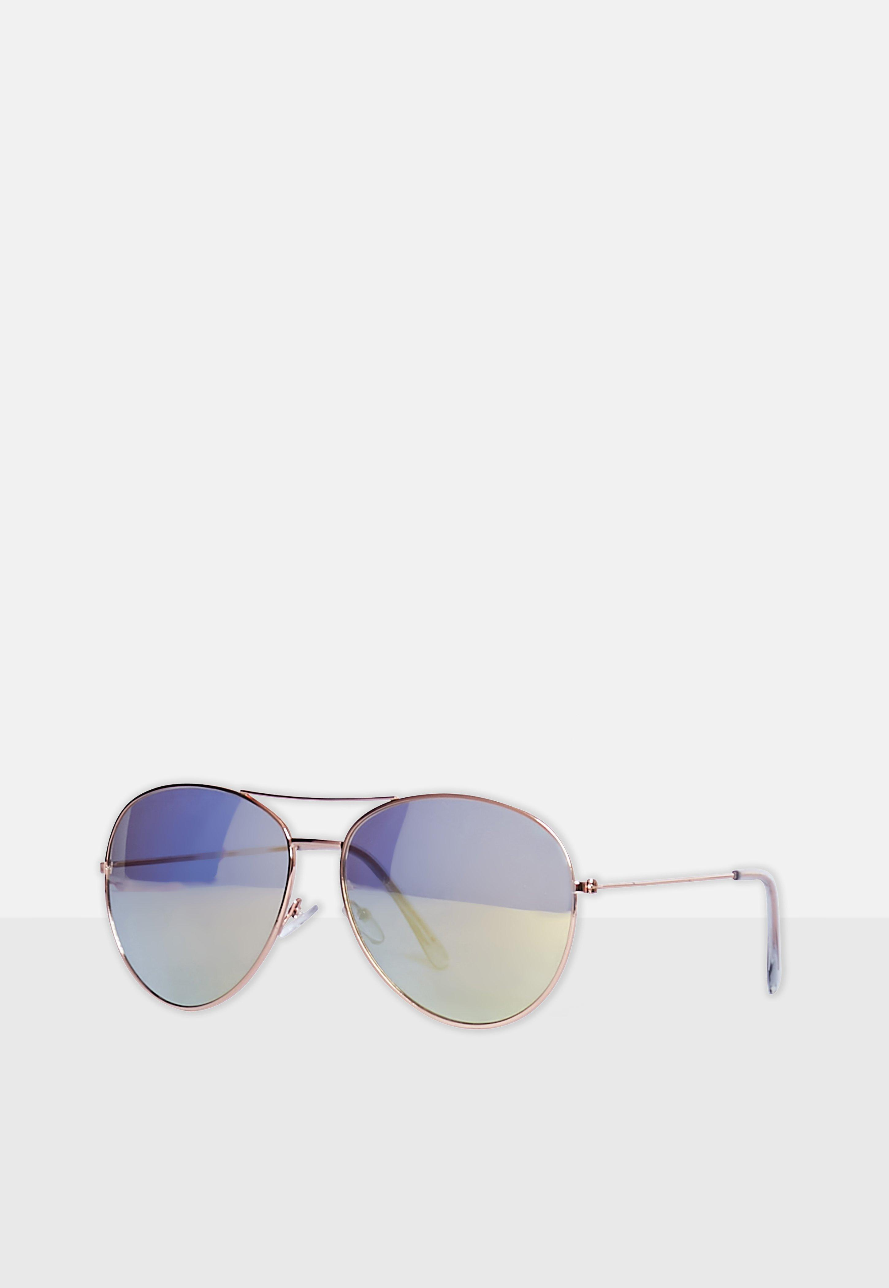 20811fef54ba Missguided Gold Aviator Sunglasses in Metallic - Lyst