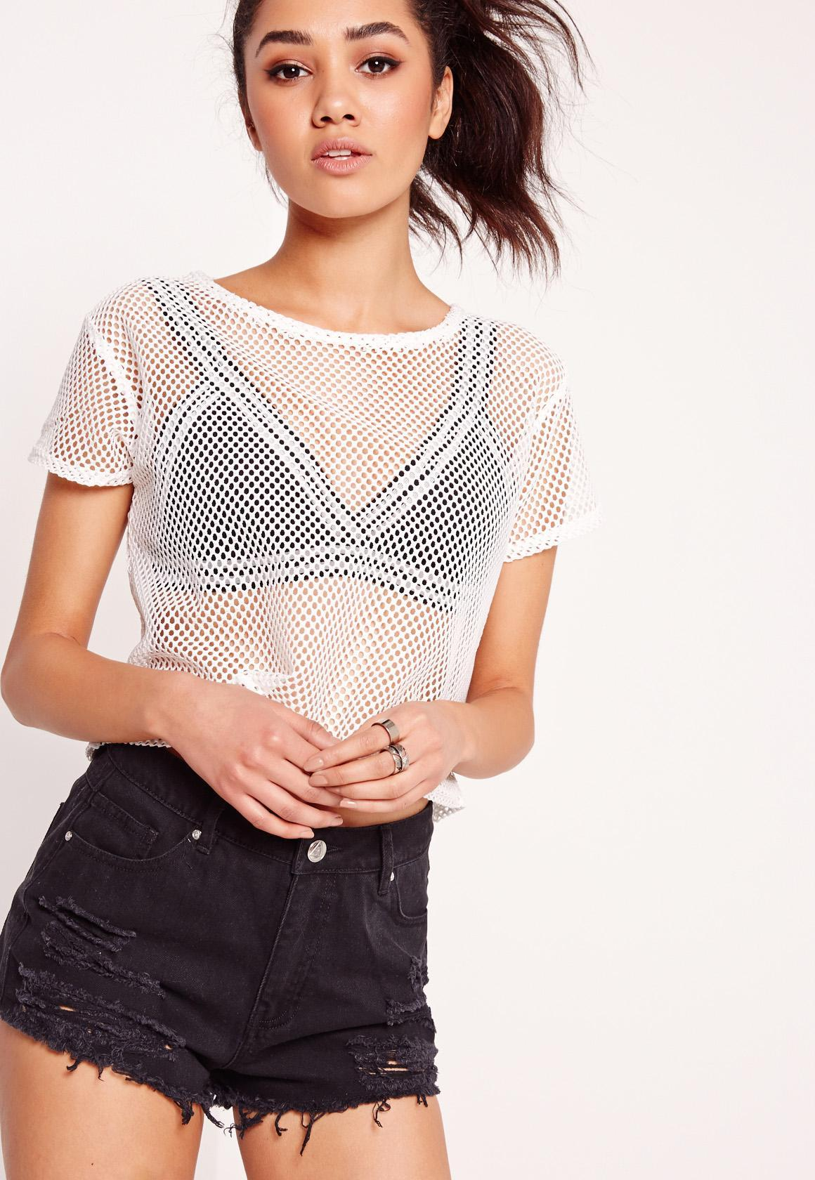 Missguided Petite Exclusive Airtex T Shirt White In White