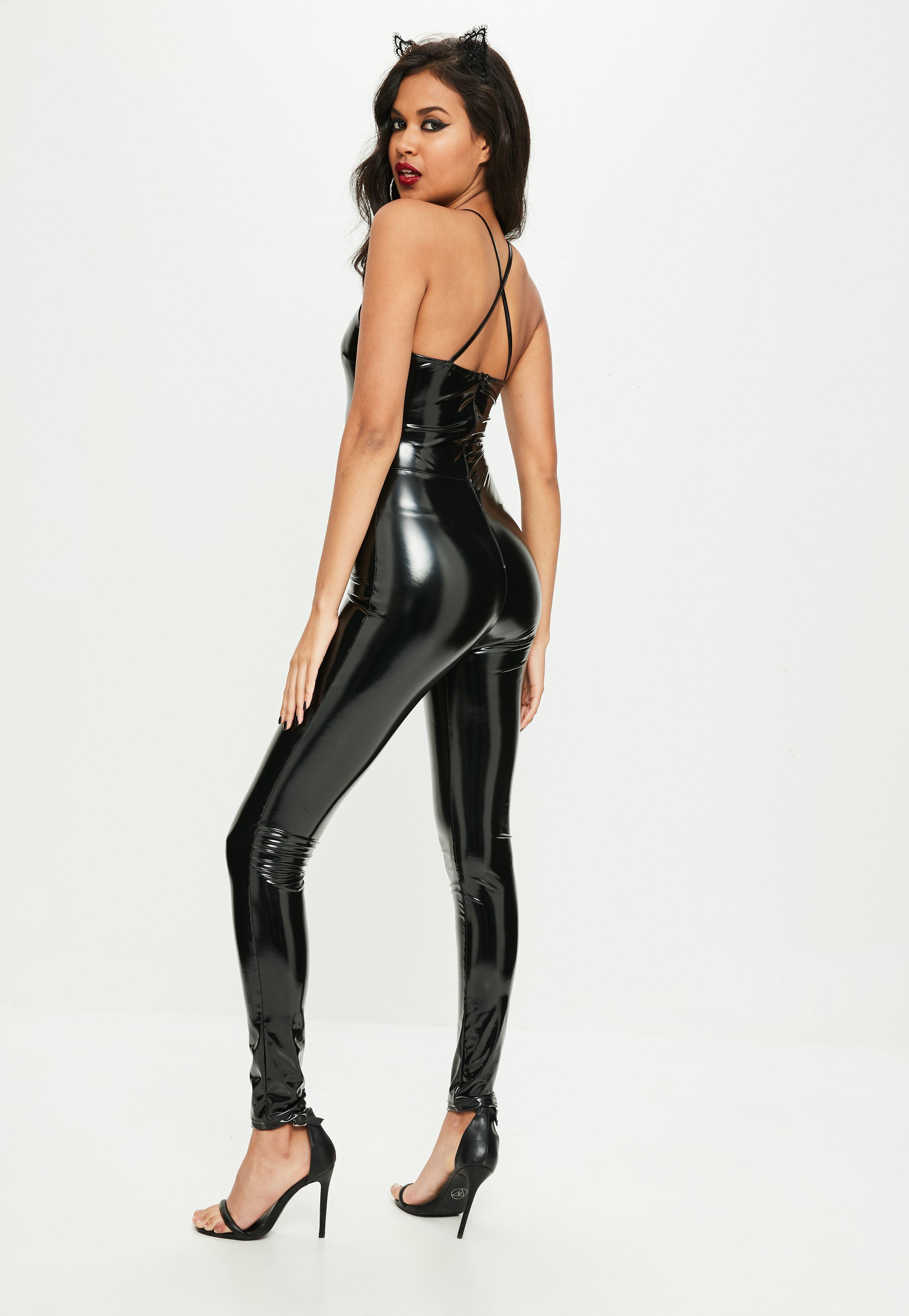 lyst - missguided halloween black 90s neck vinyl jumpsuit in black