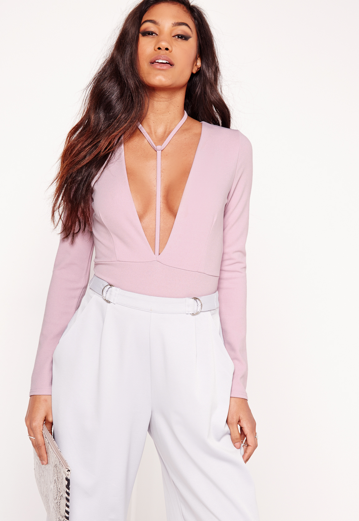 Lyst Missguided Harness Neck Long Sleeve Bodysuit Lilac
