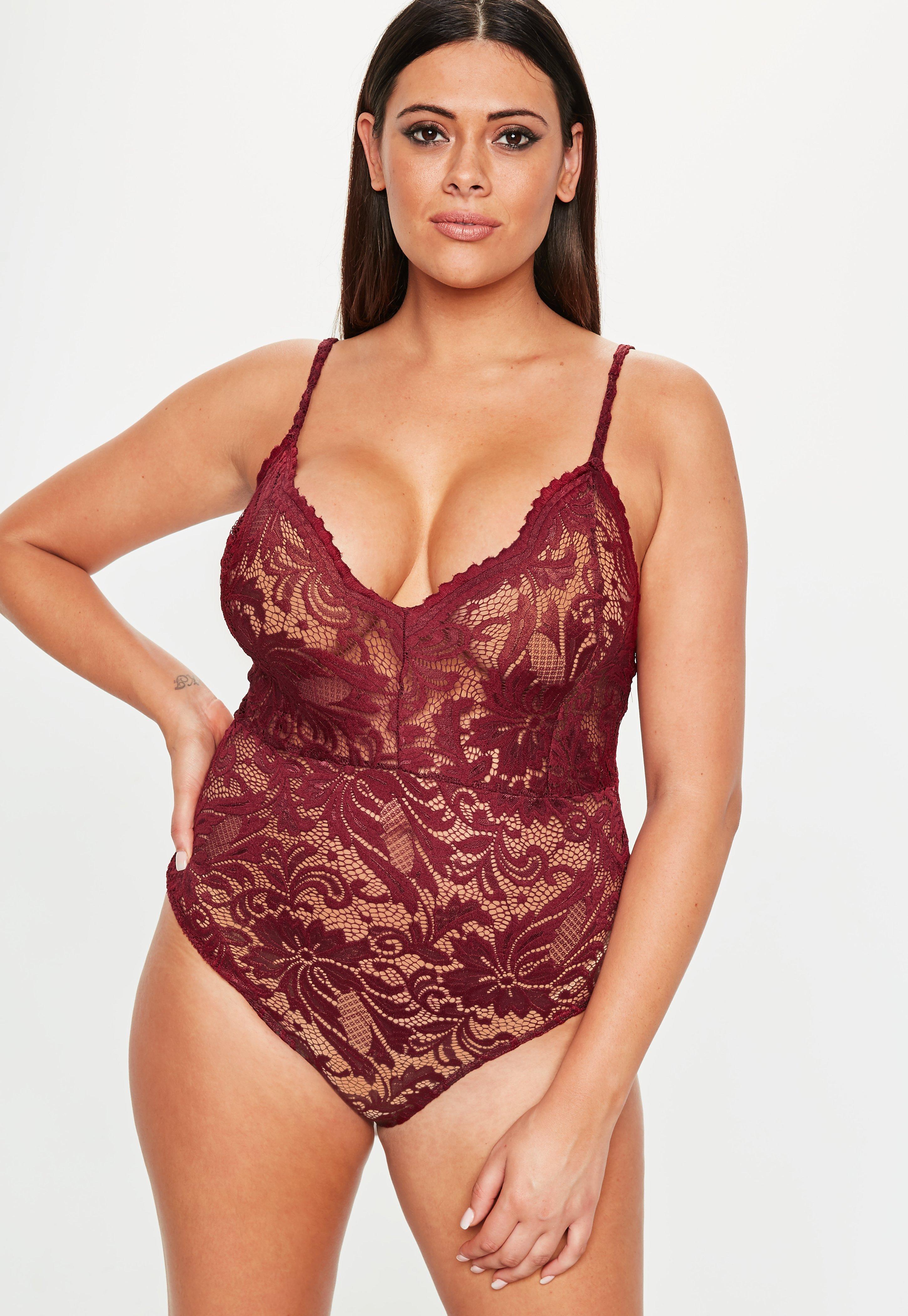 edd65c0a20 Missguided - Red Plus Size Burgundy Lace Bodysuit - Lyst. View fullscreen