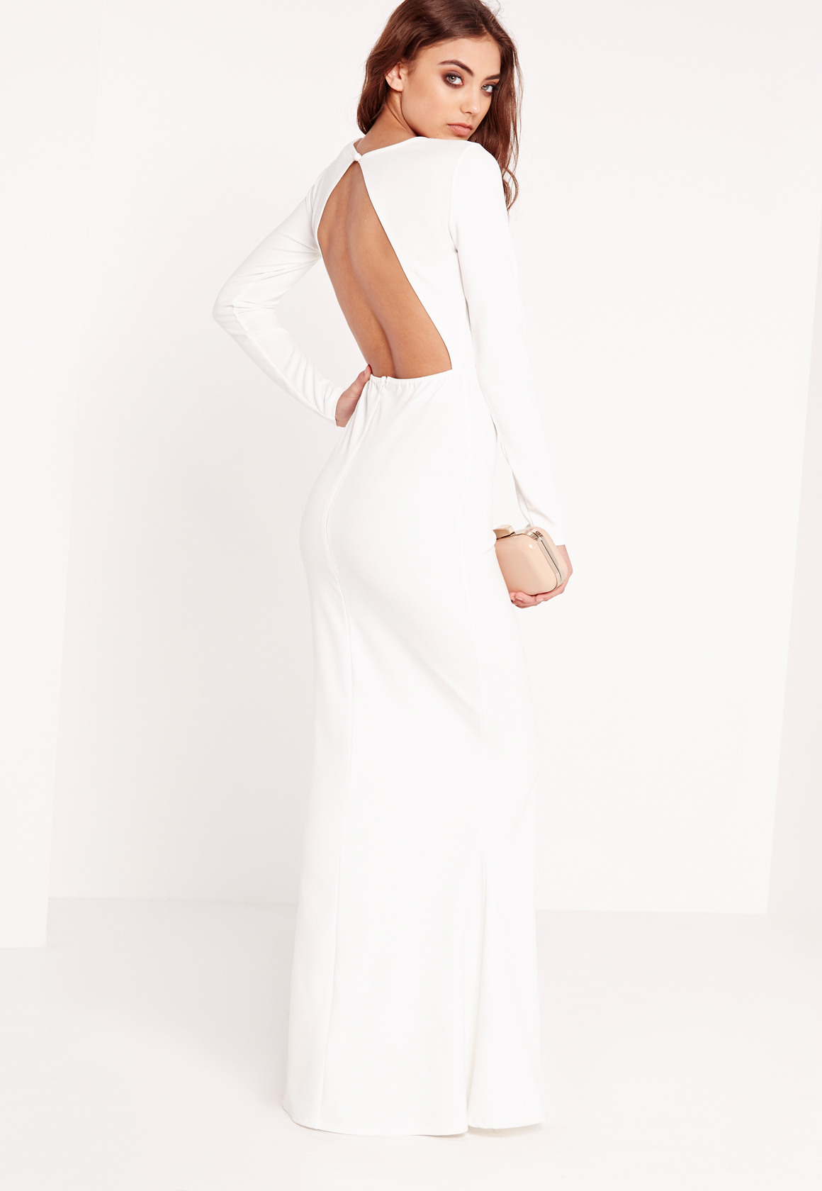 440784dfd6 Lyst - Missguided Long Sleeve Open Back Maxi Dress White in White