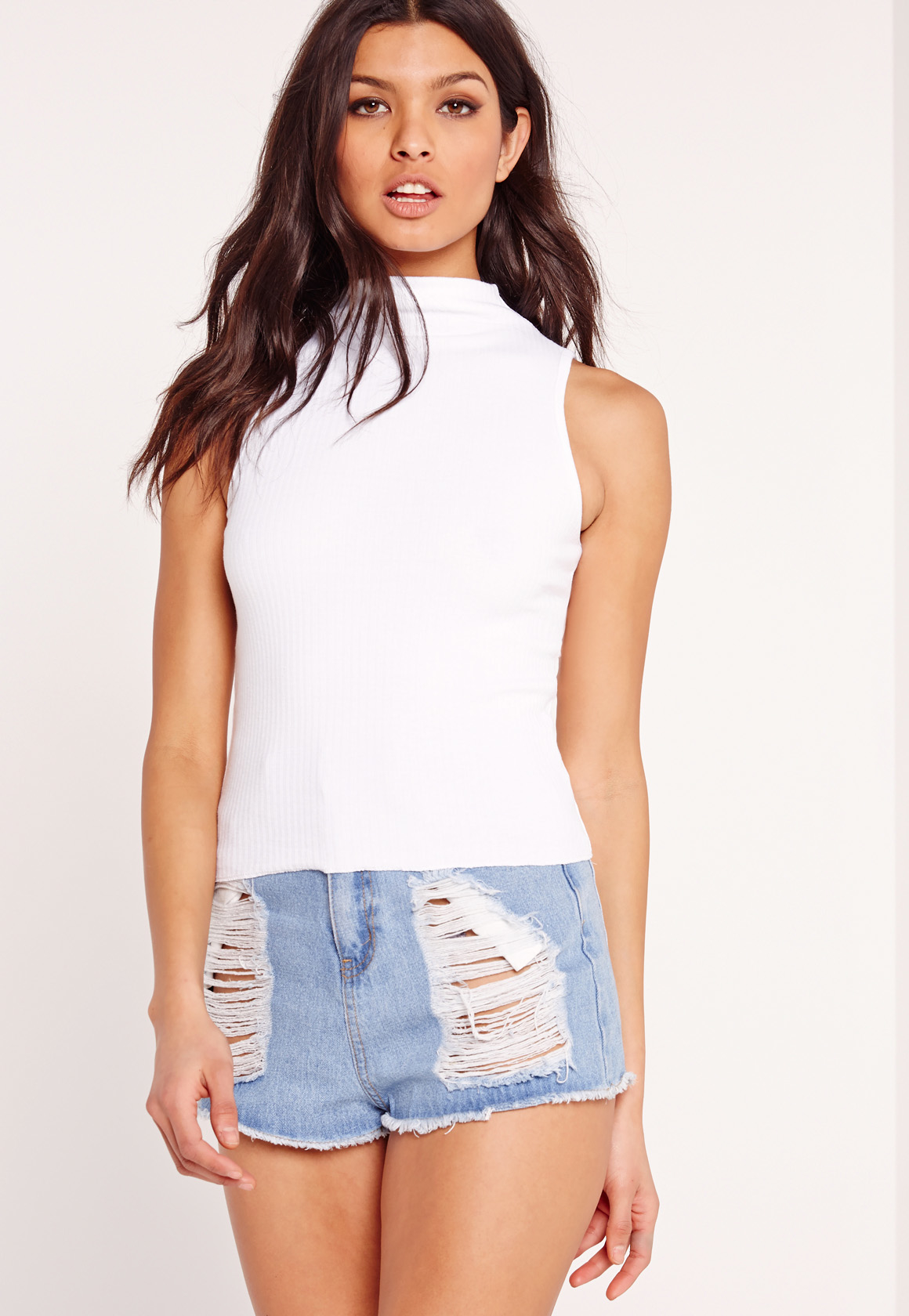 Missguided Ribbed High Neck Tank Top White In White Lyst