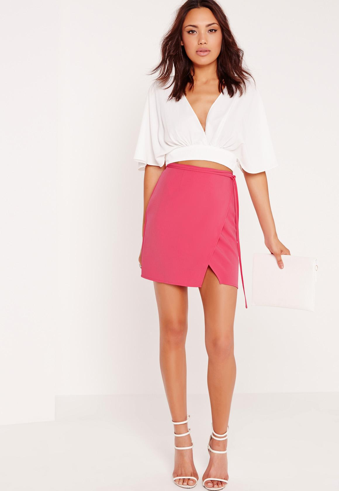 5002920030 Missguided High Waisted Wrap Skirt Pink in Pink - Lyst