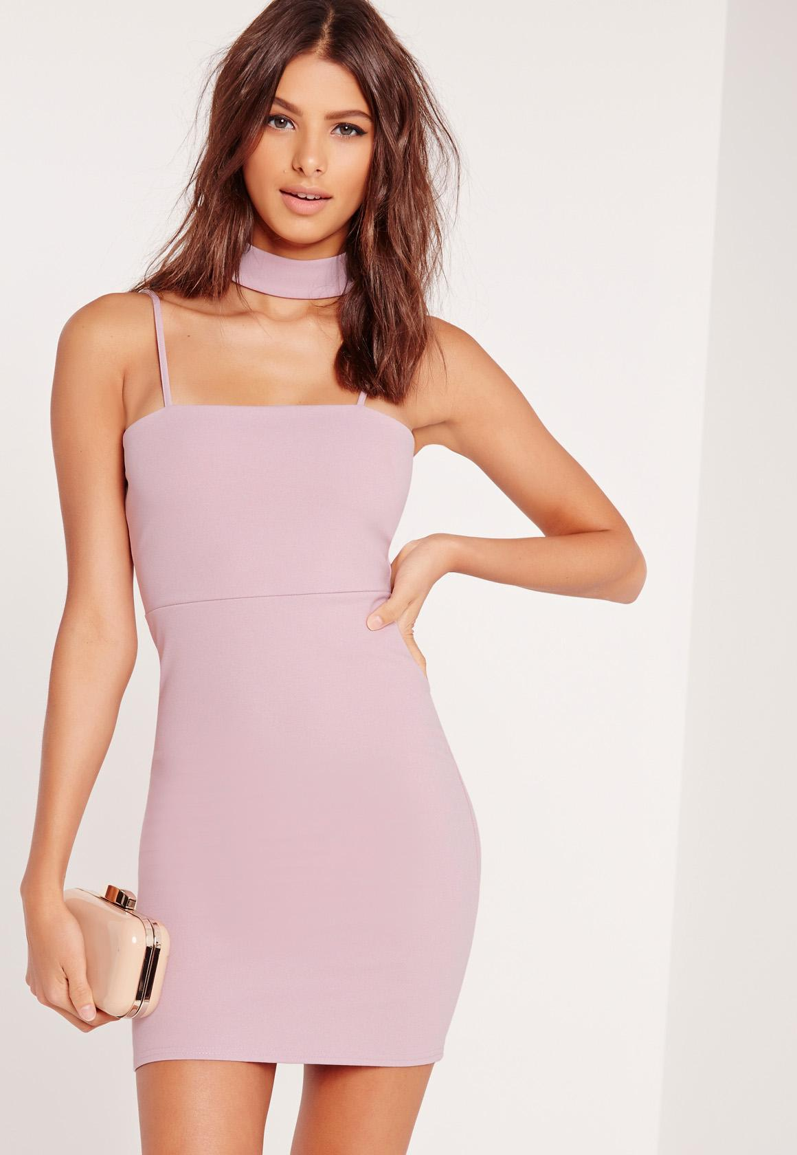 Missguided Choker Neck Bodycon Dress Mauve in Pink - Save