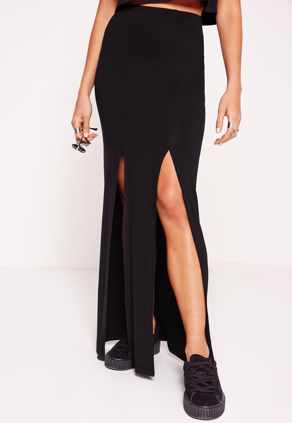 missguided front split maxi skirt black in black lyst