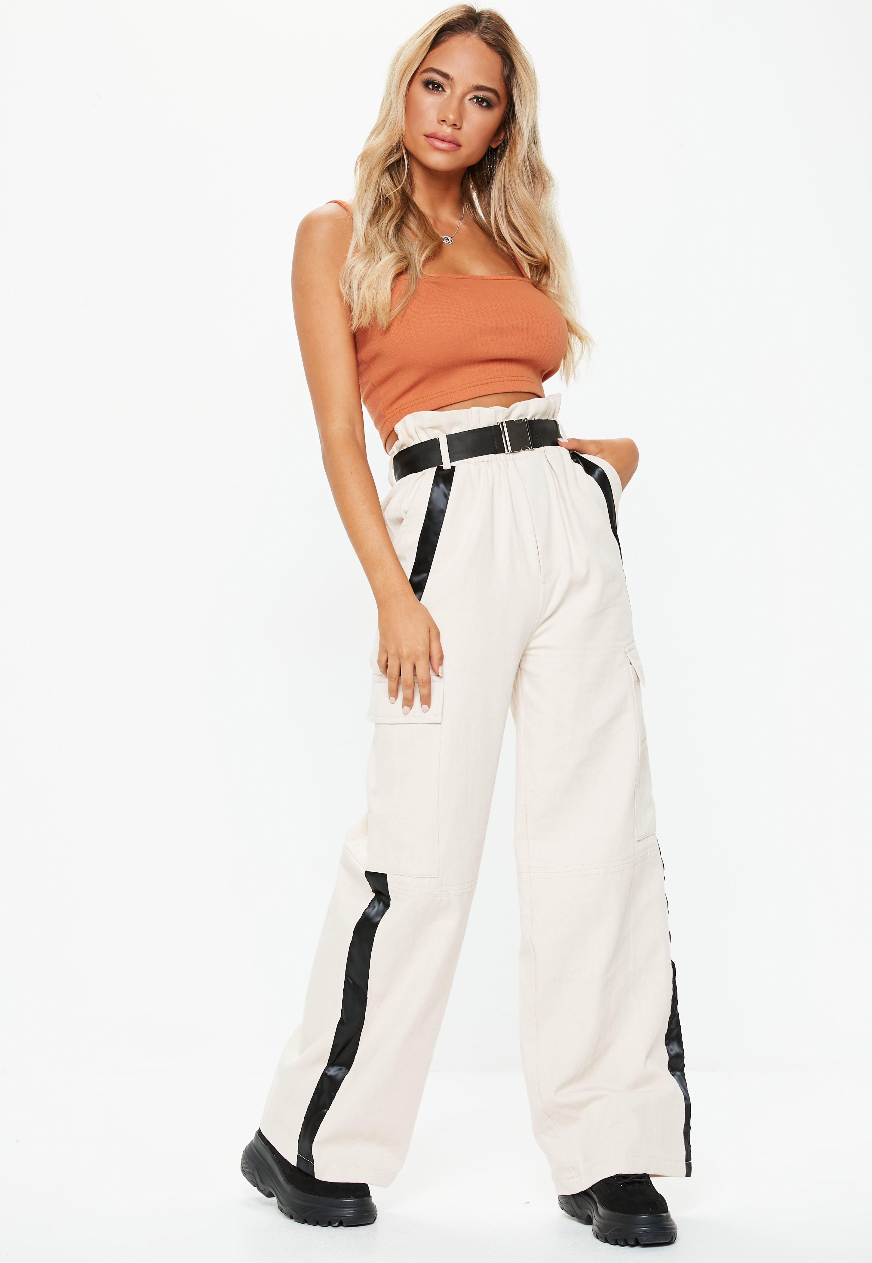 418084c81ea Missguided Rust Straight Neck Strappy Crop Top - Lyst