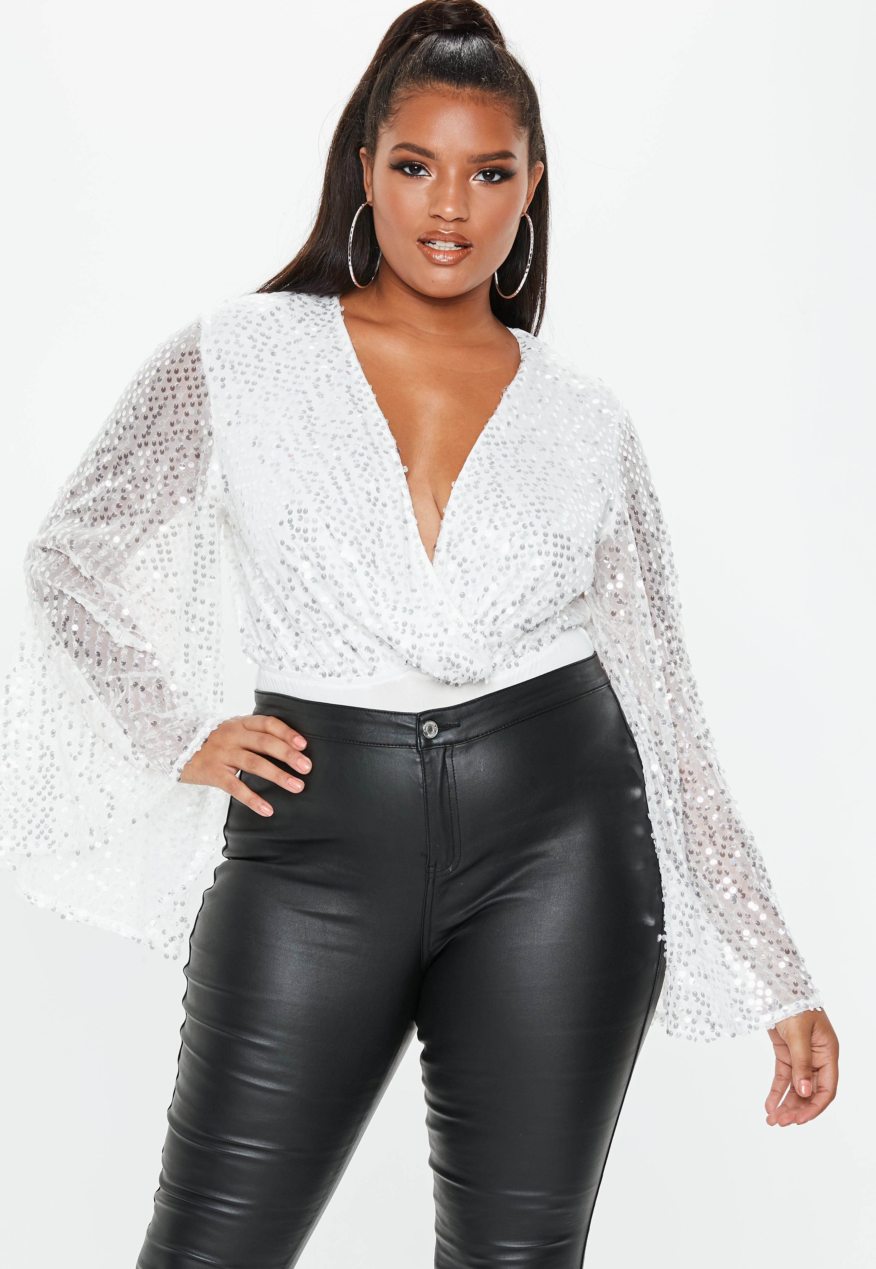 81d355f9748 Lyst - Missguided Plus Size White Sequin Plunge Bodysuit in White