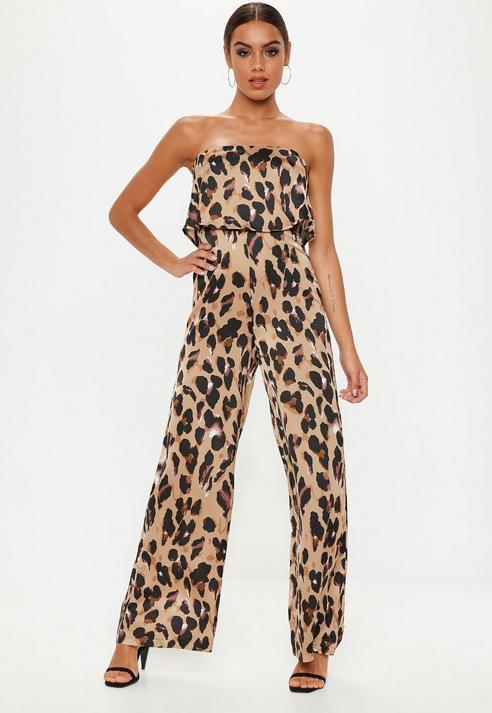 072144c1ec Missguided Brown Leopard Print Bandeau Jumpsuit in Brown - Lyst